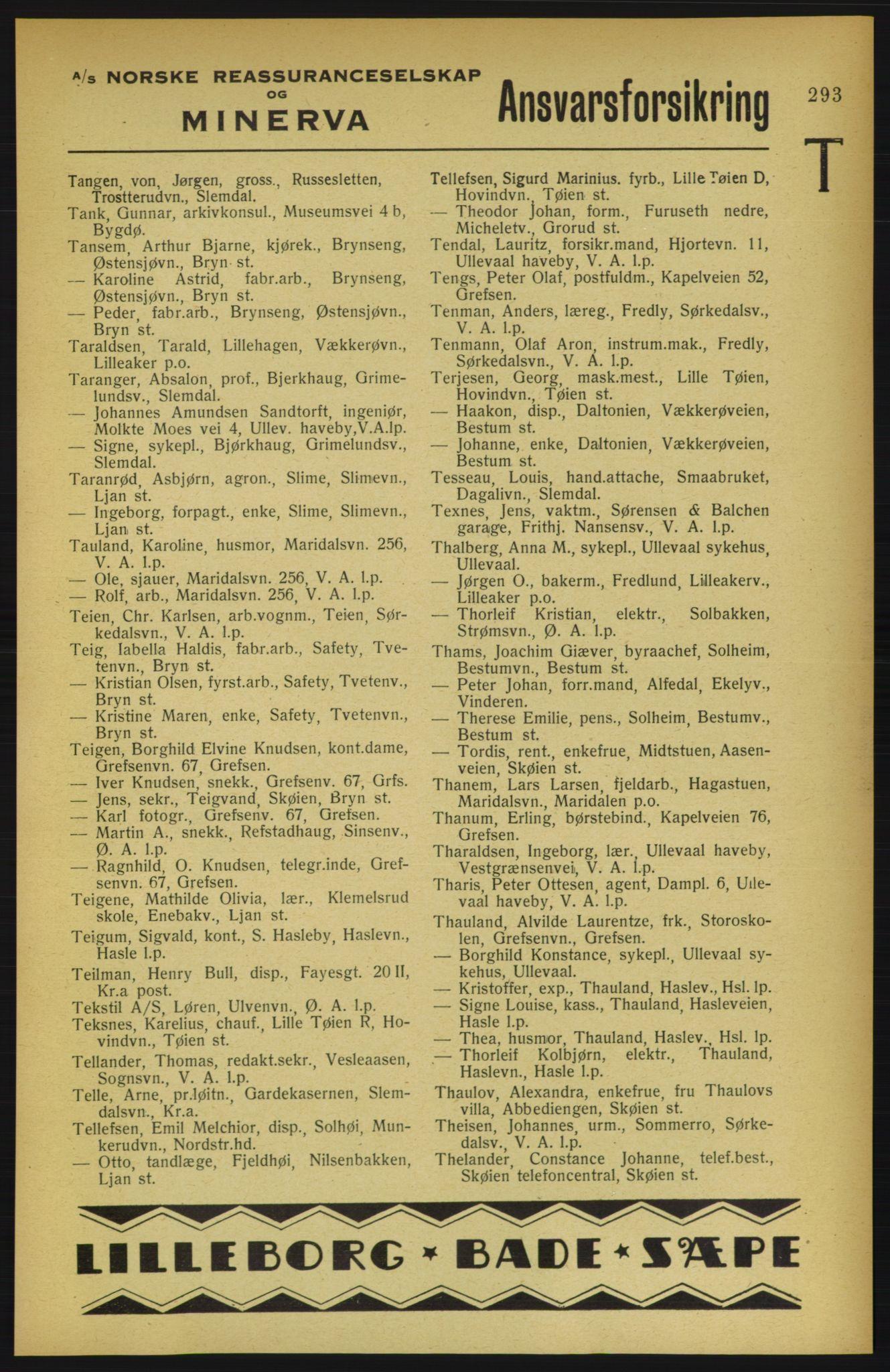 PUBL, Aker adressebok/adressekalender, 1922, s. 293