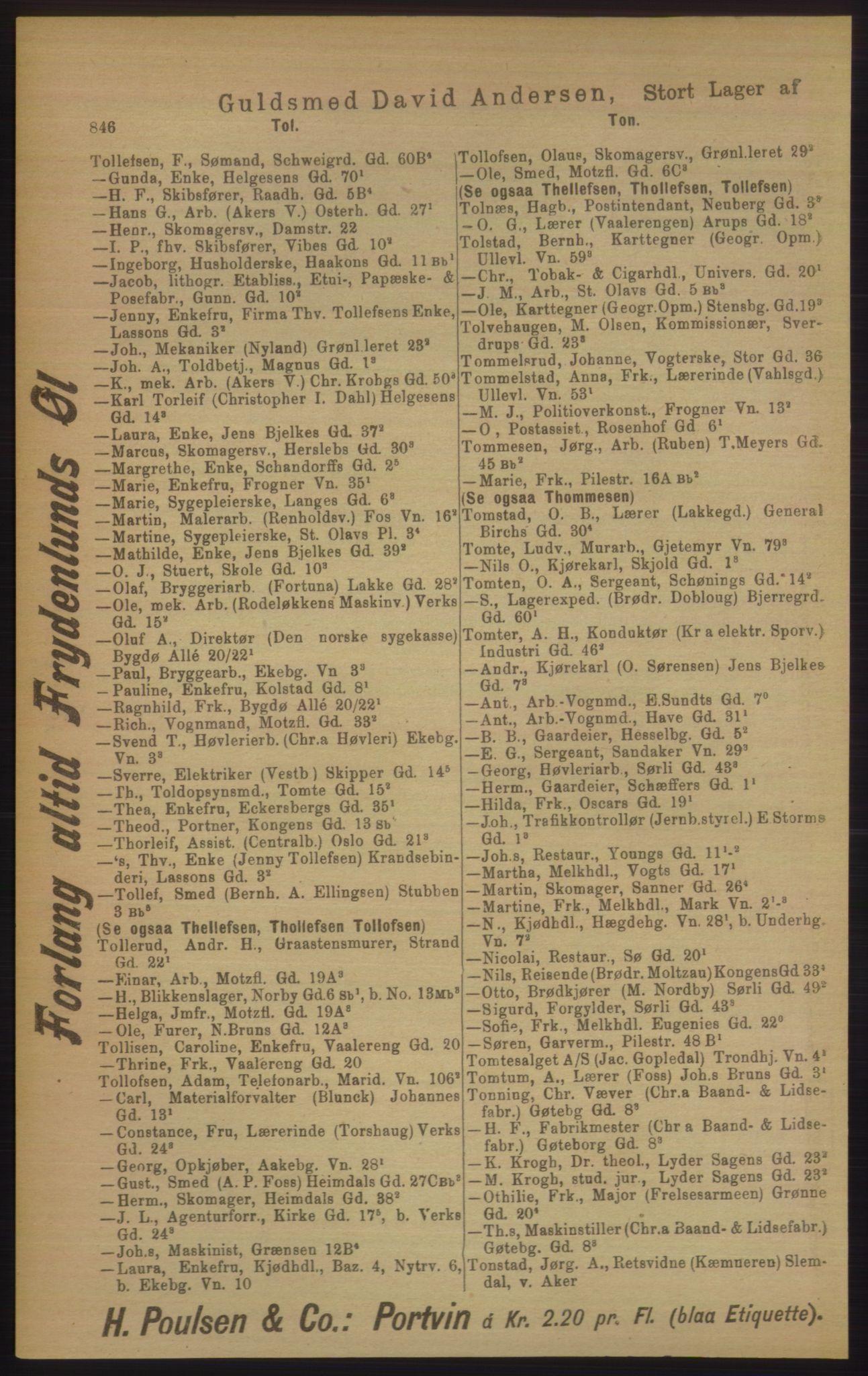 RA, Kristiania adressebok (publikasjon)*, 1906, s. 846