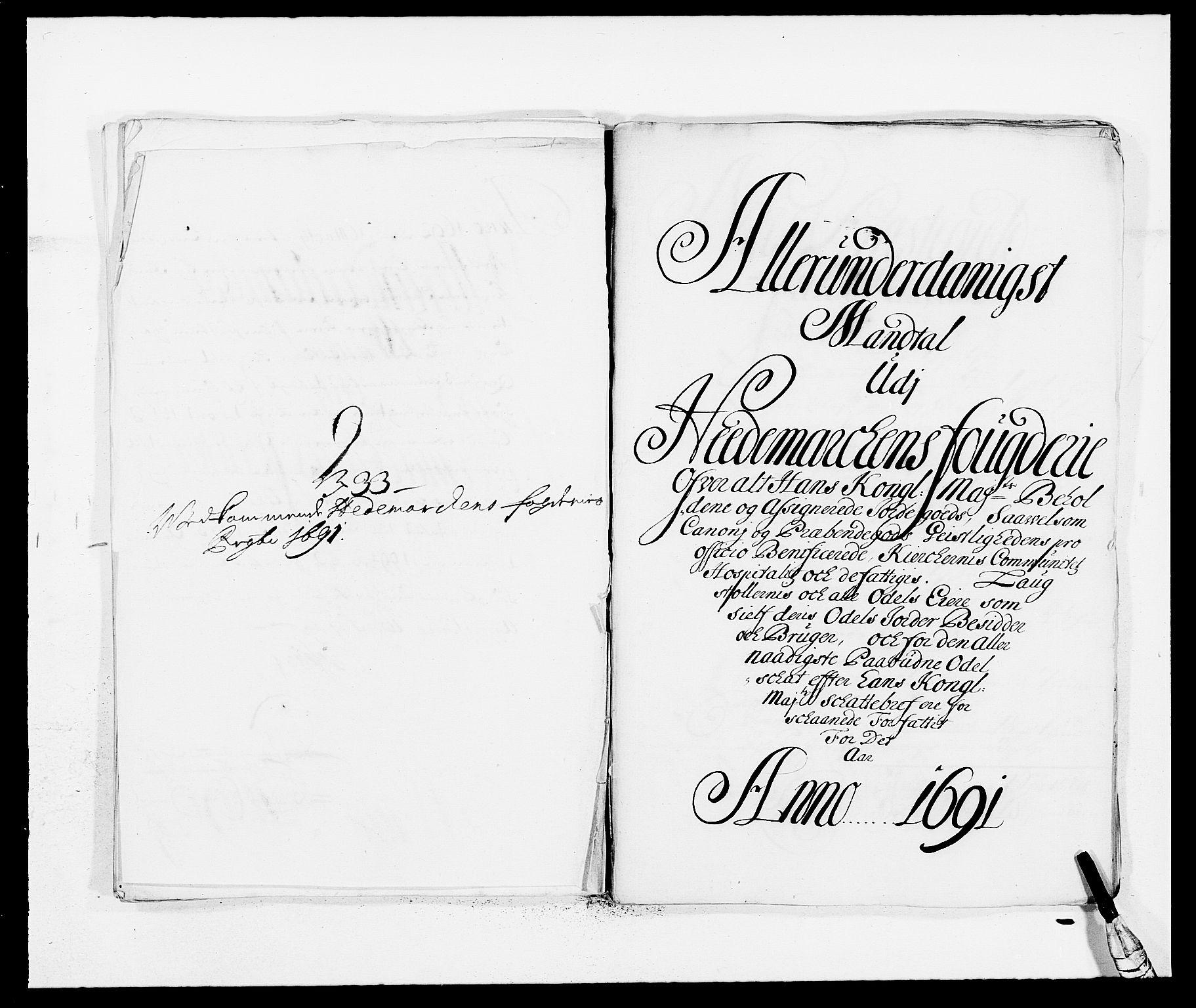 RA, Rentekammeret inntil 1814, Reviderte regnskaper, Fogderegnskap, R16/L1032: Fogderegnskap Hedmark, 1689-1692, s. 26