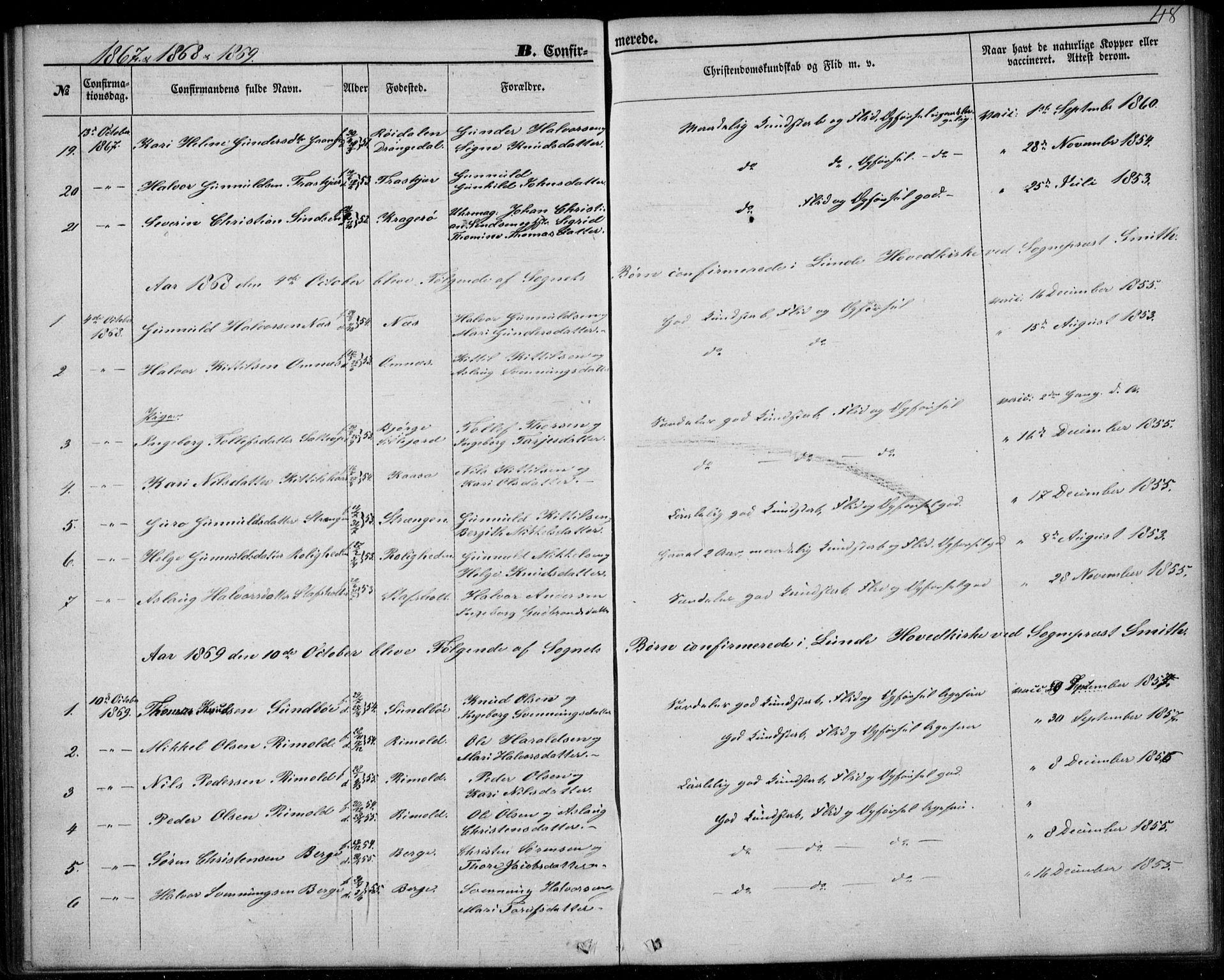 SAKO, Lunde kirkebøker, F/Fb/L0002: Ministerialbok nr. II 2, 1861-1881, s. 48