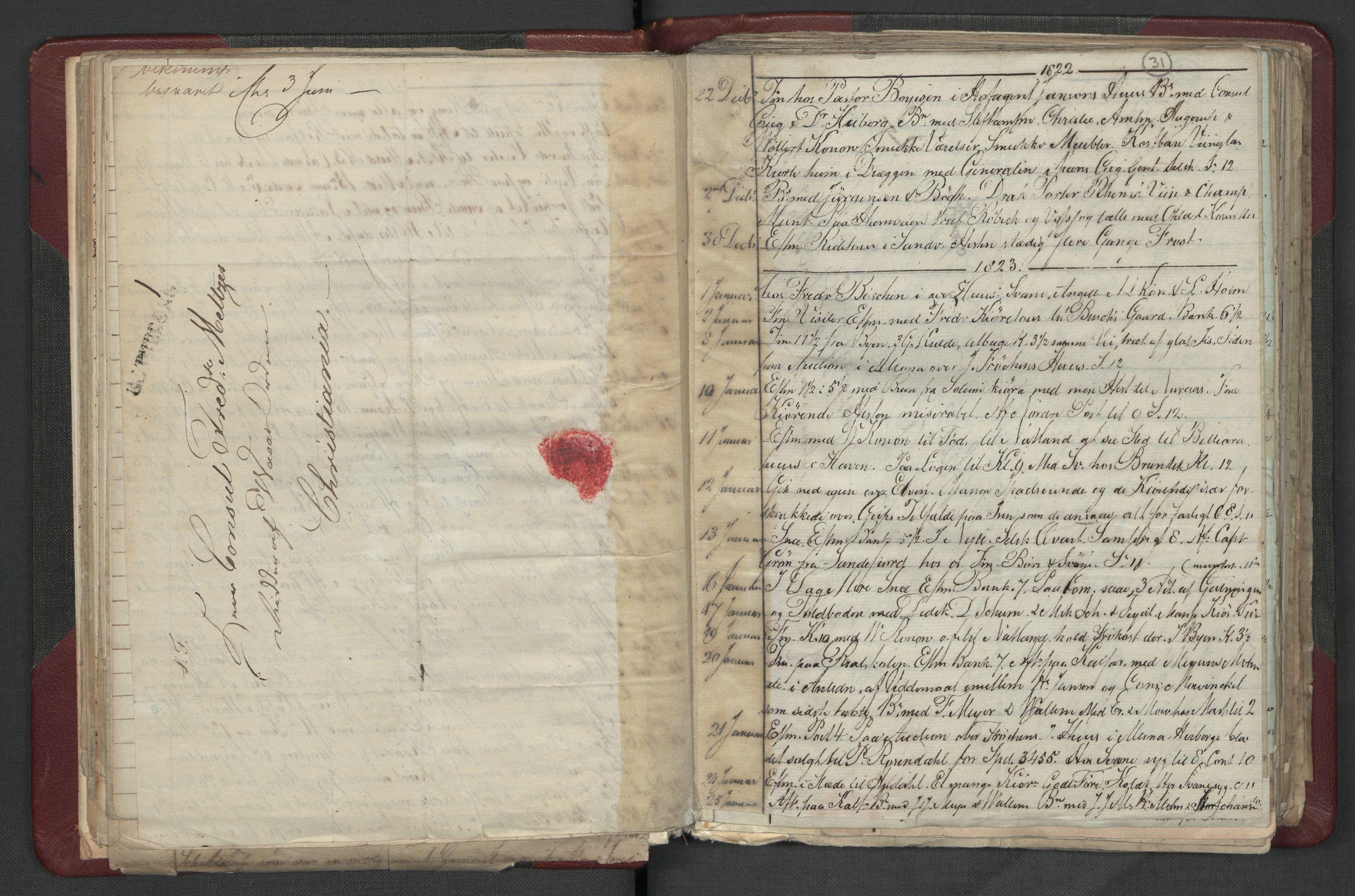 RA, Meltzer, Fredrik, F/L0003: Dagbok, 1821-1831, s. 30b-31a