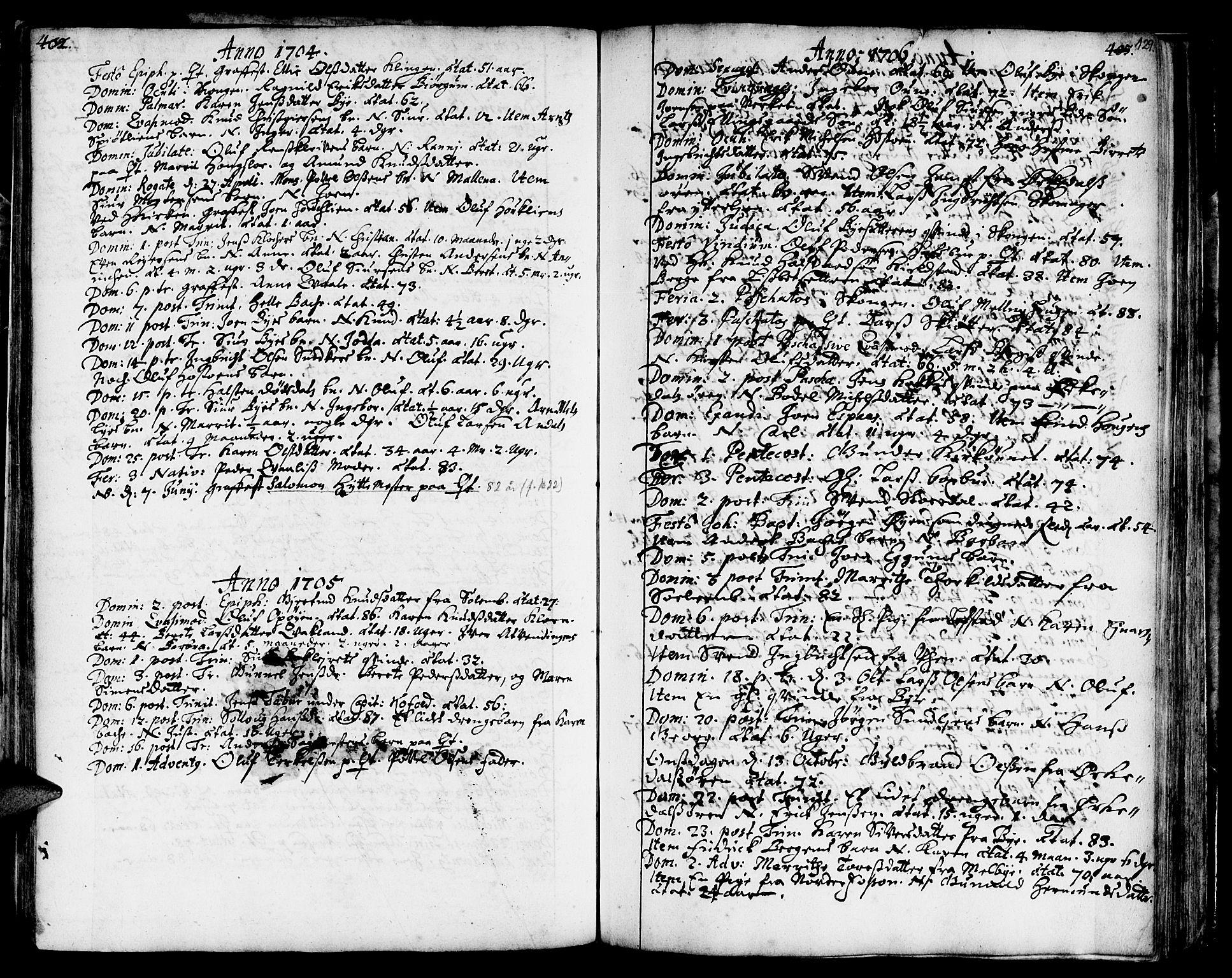 SAT, Ministerialprotokoller, klokkerbøker og fødselsregistre - Sør-Trøndelag, 668/L0801: Ministerialbok nr. 668A01, 1695-1716, s. 128-129