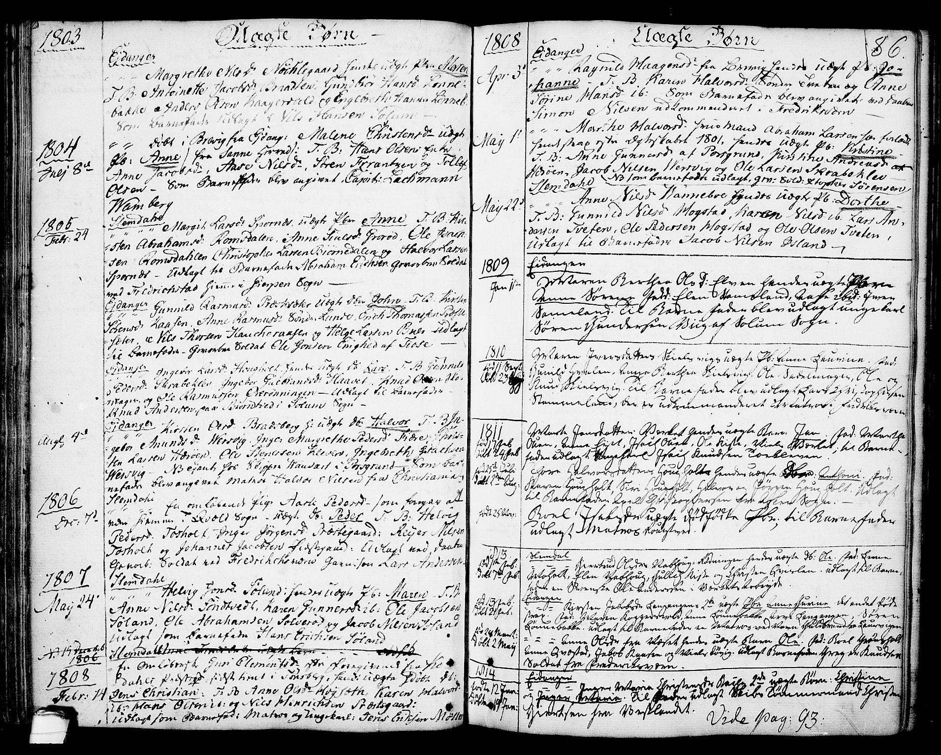 SAKO, Eidanger kirkebøker, F/Fa/L0006: Ministerialbok nr. 6, 1764-1814, s. 86
