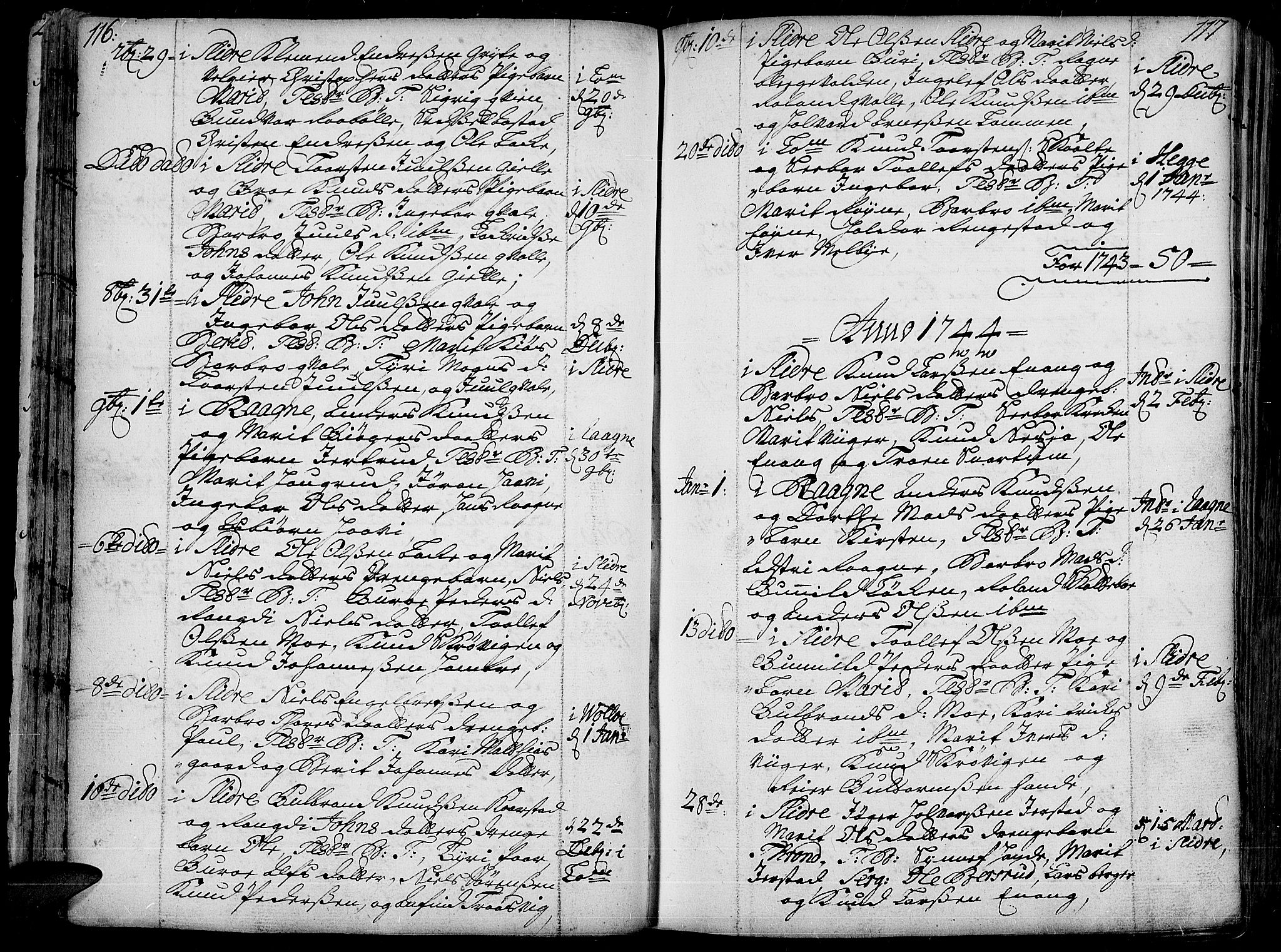 SAH, Slidre prestekontor, Ministerialbok nr. 1, 1724-1814, s. 116-117