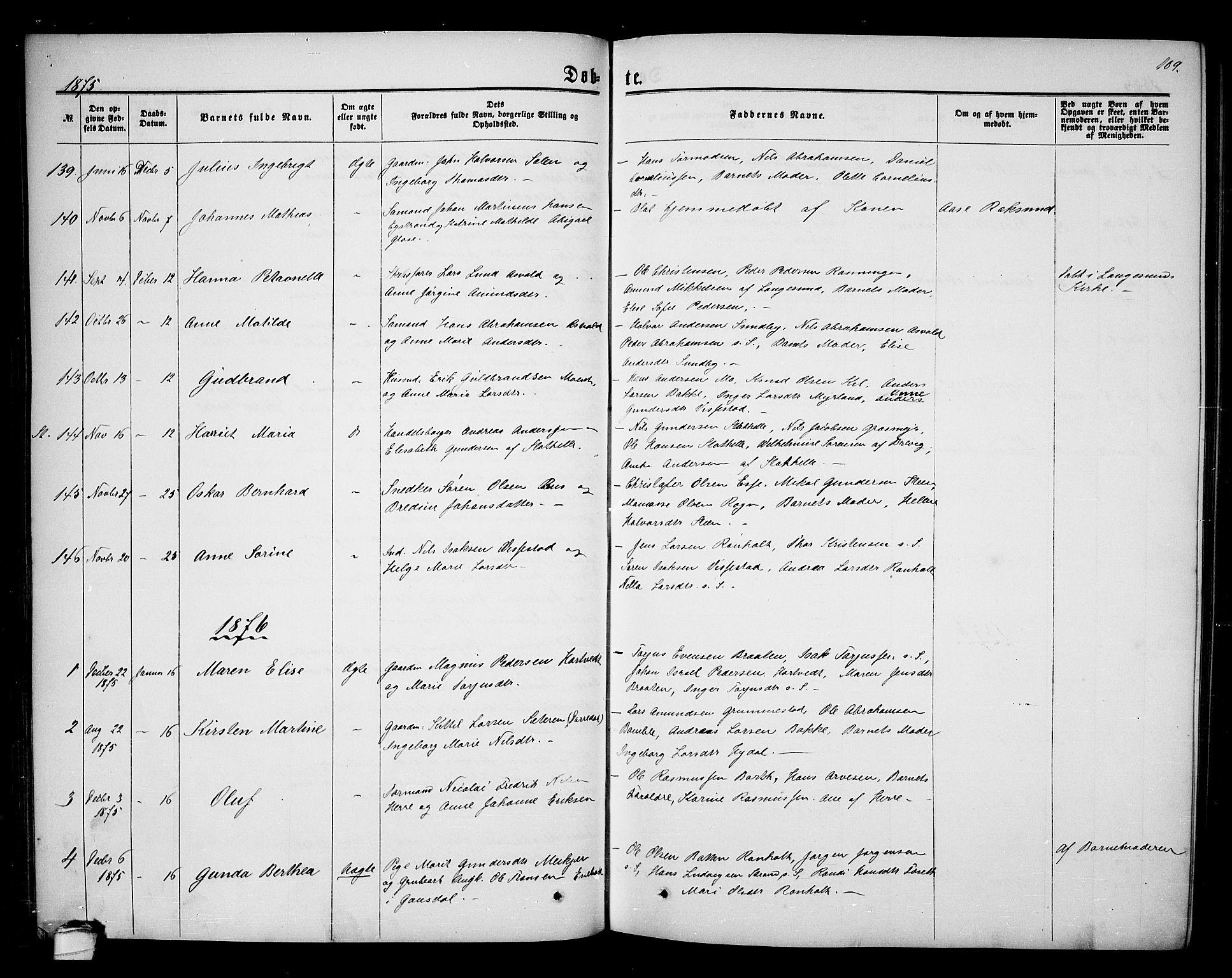 SAKO, Bamble kirkebøker, G/Ga/L0006: Klokkerbok nr. I 6, 1860-1876, s. 109