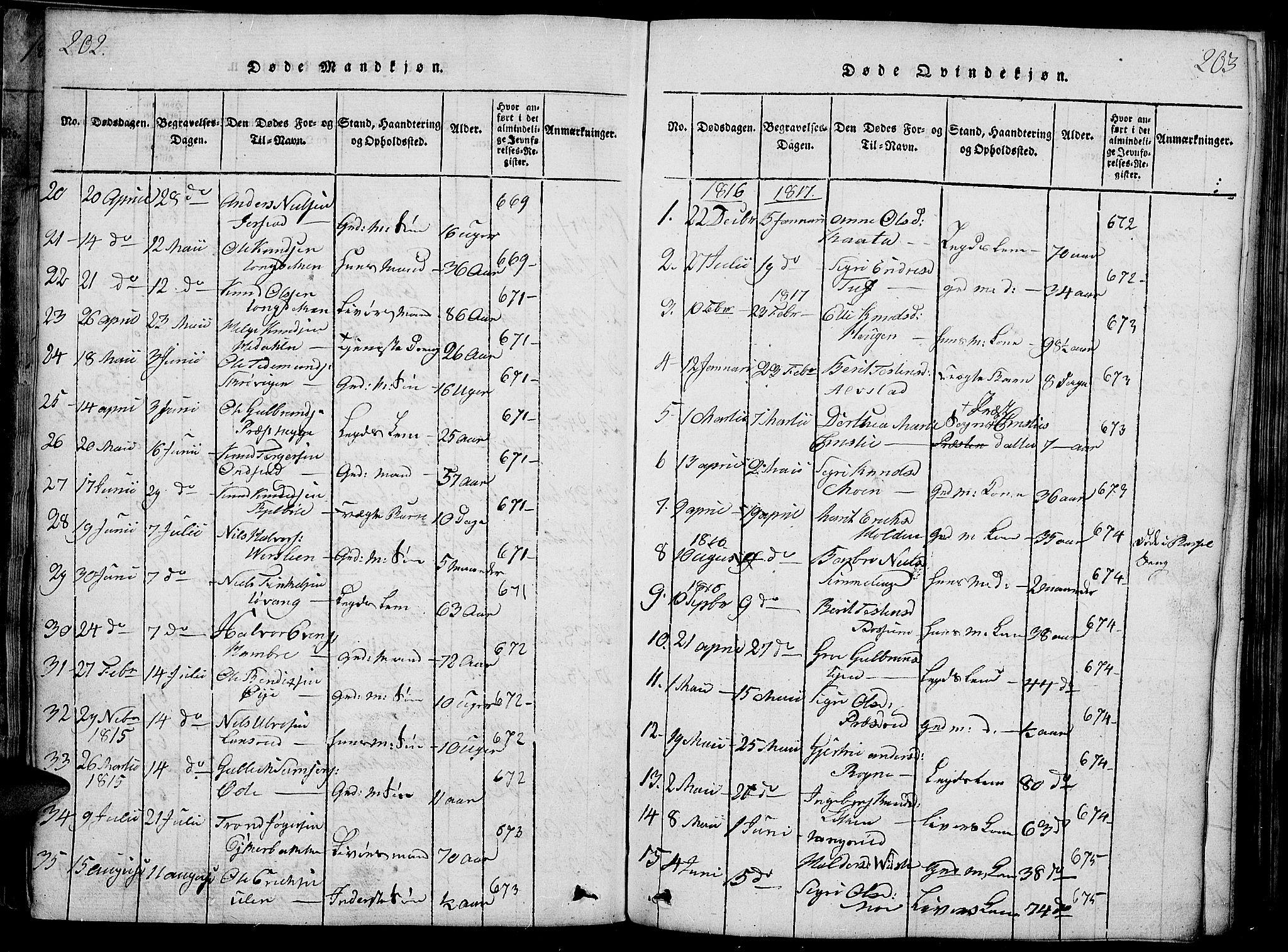 SAH, Slidre prestekontor, Ministerialbok nr. 2, 1814-1830, s. 202-203