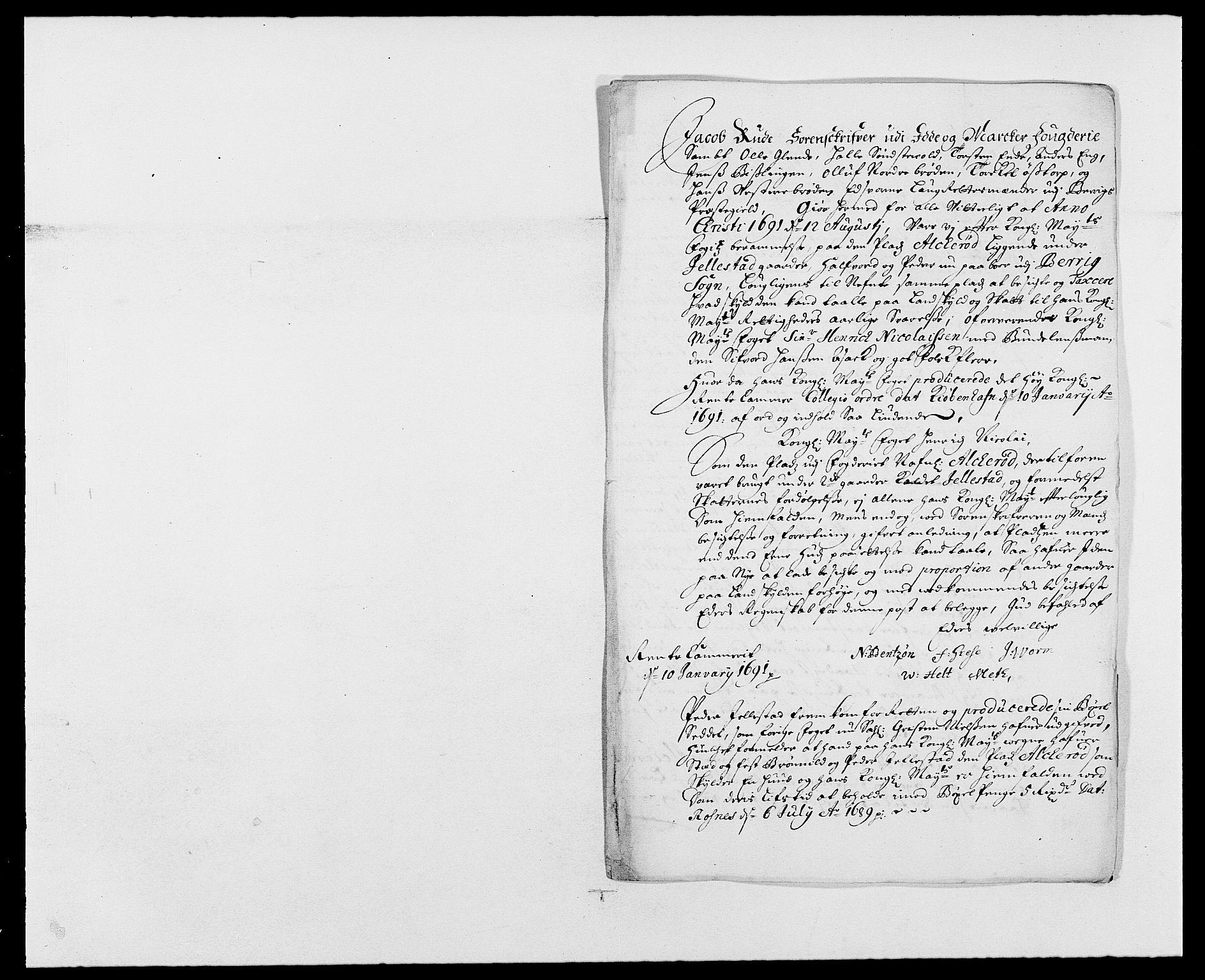 RA, Rentekammeret inntil 1814, Reviderte regnskaper, Fogderegnskap, R01/L0010: Fogderegnskap Idd og Marker, 1690-1691, s. 332