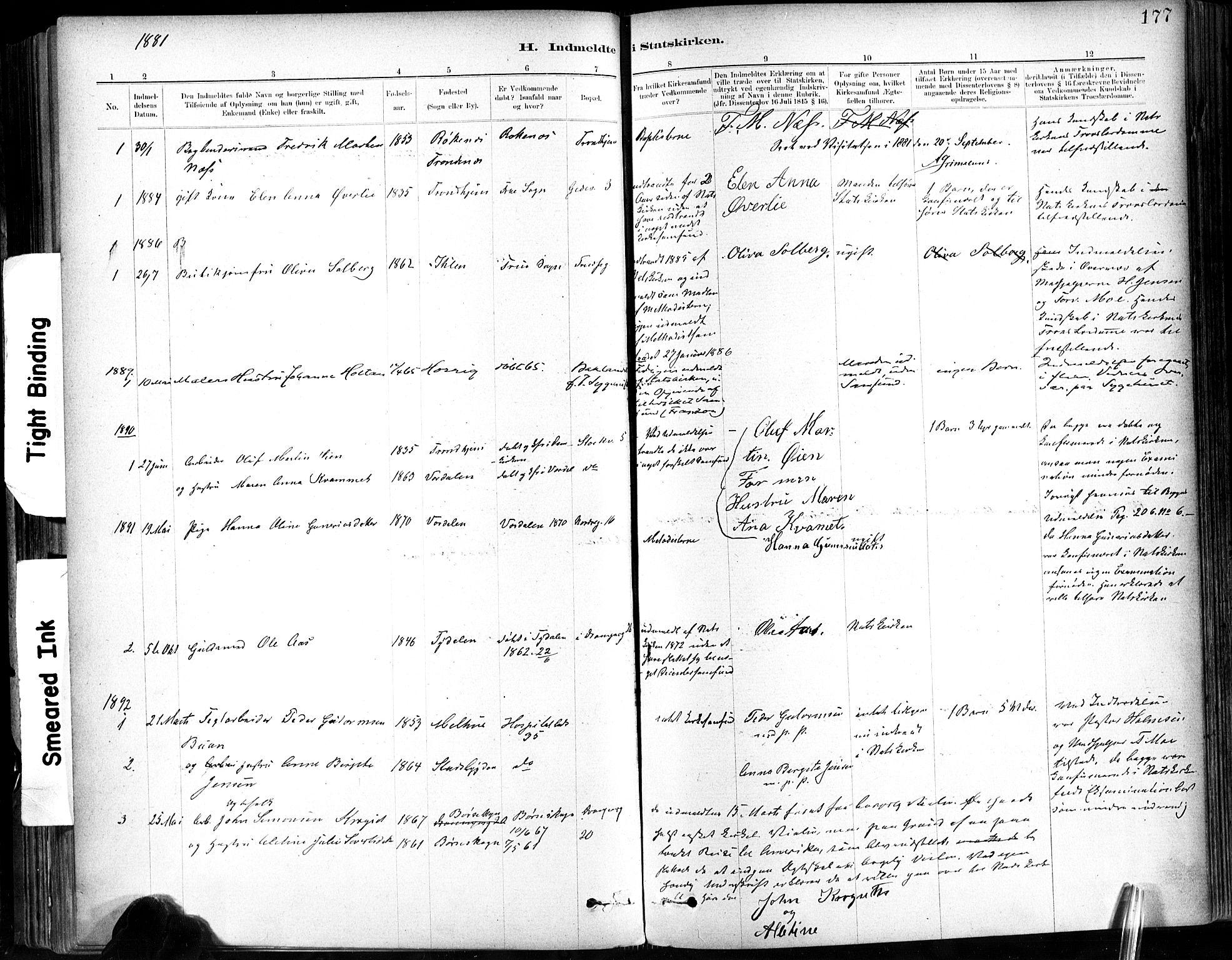 SAT, Ministerialprotokoller, klokkerbøker og fødselsregistre - Sør-Trøndelag, 602/L0120: Ministerialbok nr. 602A18, 1880-1913, s. 177