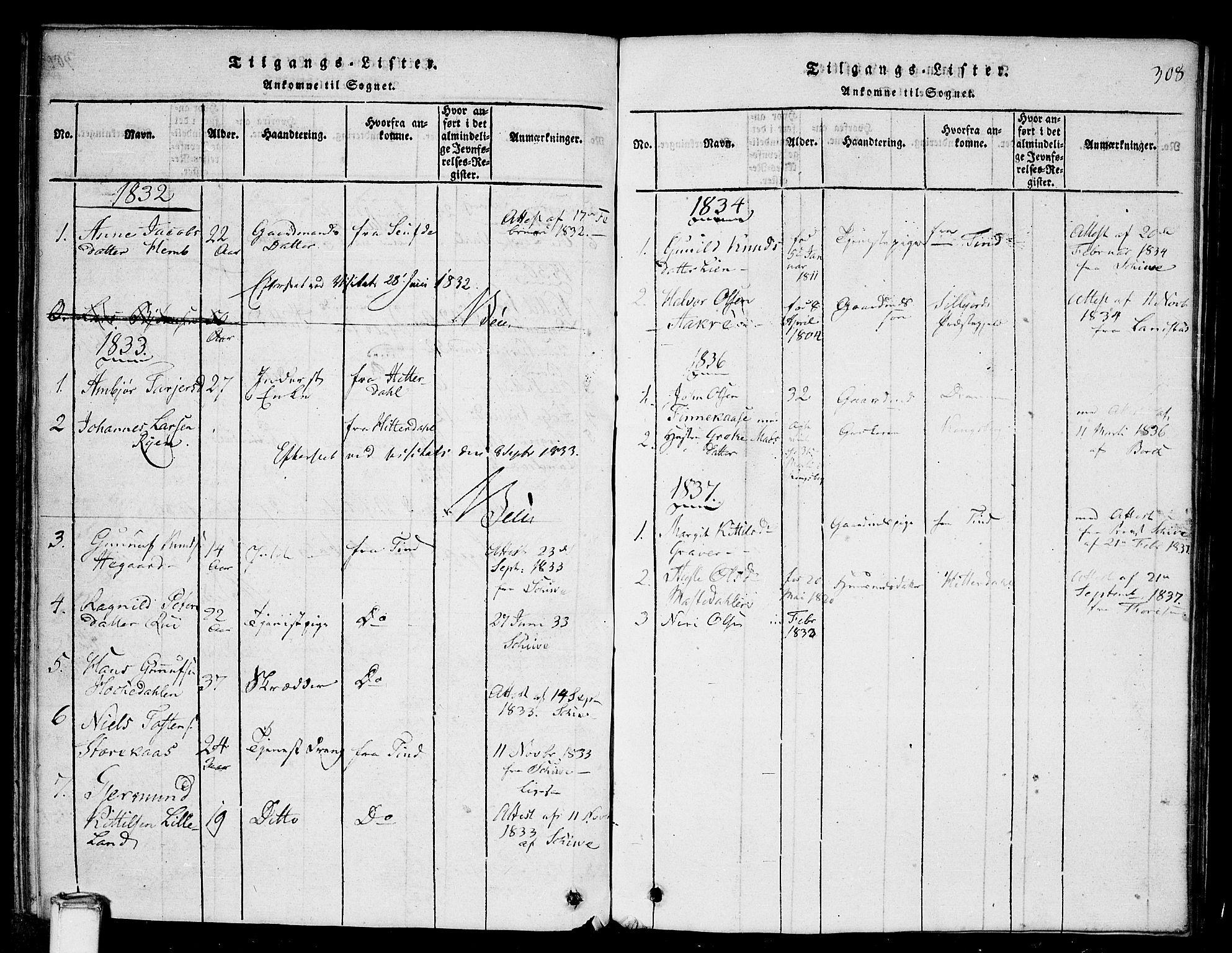 SAKO, Gransherad kirkebøker, G/Ga/L0001: Klokkerbok nr. I 1, 1815-1842, s. 308