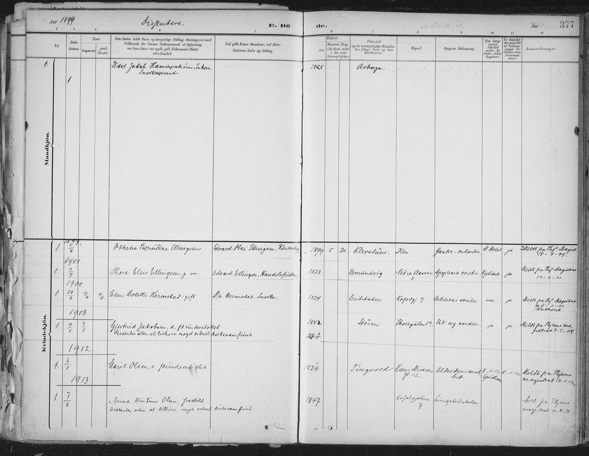 SAT, Ministerialprotokoller, klokkerbøker og fødselsregistre - Sør-Trøndelag, 603/L0167: Ministerialbok nr. 603A06, 1896-1932, s. 377