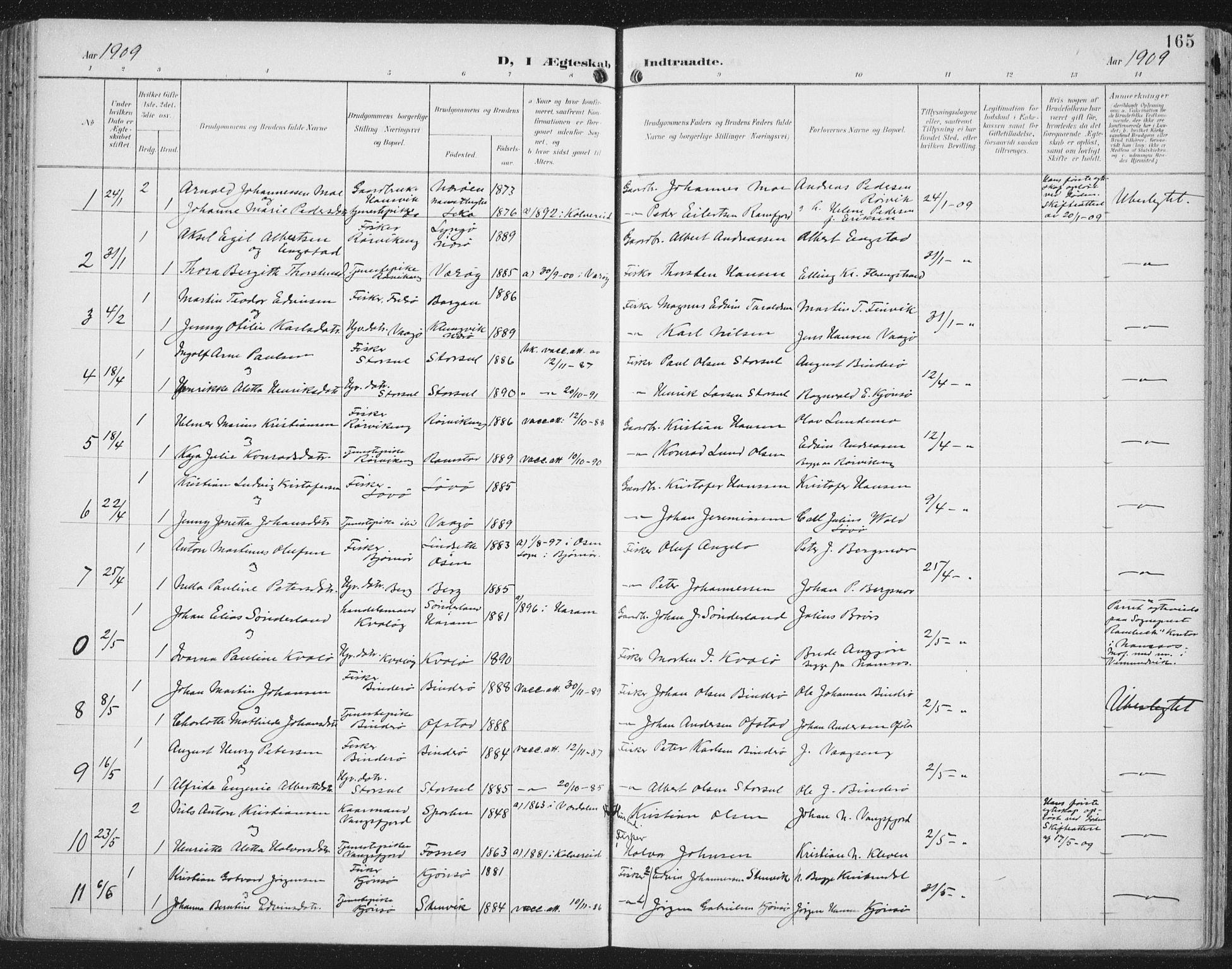 SAT, Ministerialprotokoller, klokkerbøker og fødselsregistre - Nord-Trøndelag, 786/L0688: Ministerialbok nr. 786A04, 1899-1912, s. 165