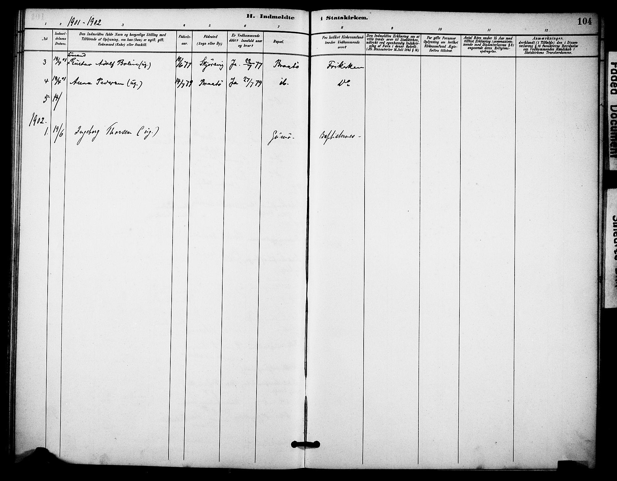 SAKO, Skåtøy kirkebøker, F/Fa/L0004: Ministerialbok nr. I 4, 1884-1900, s. 104