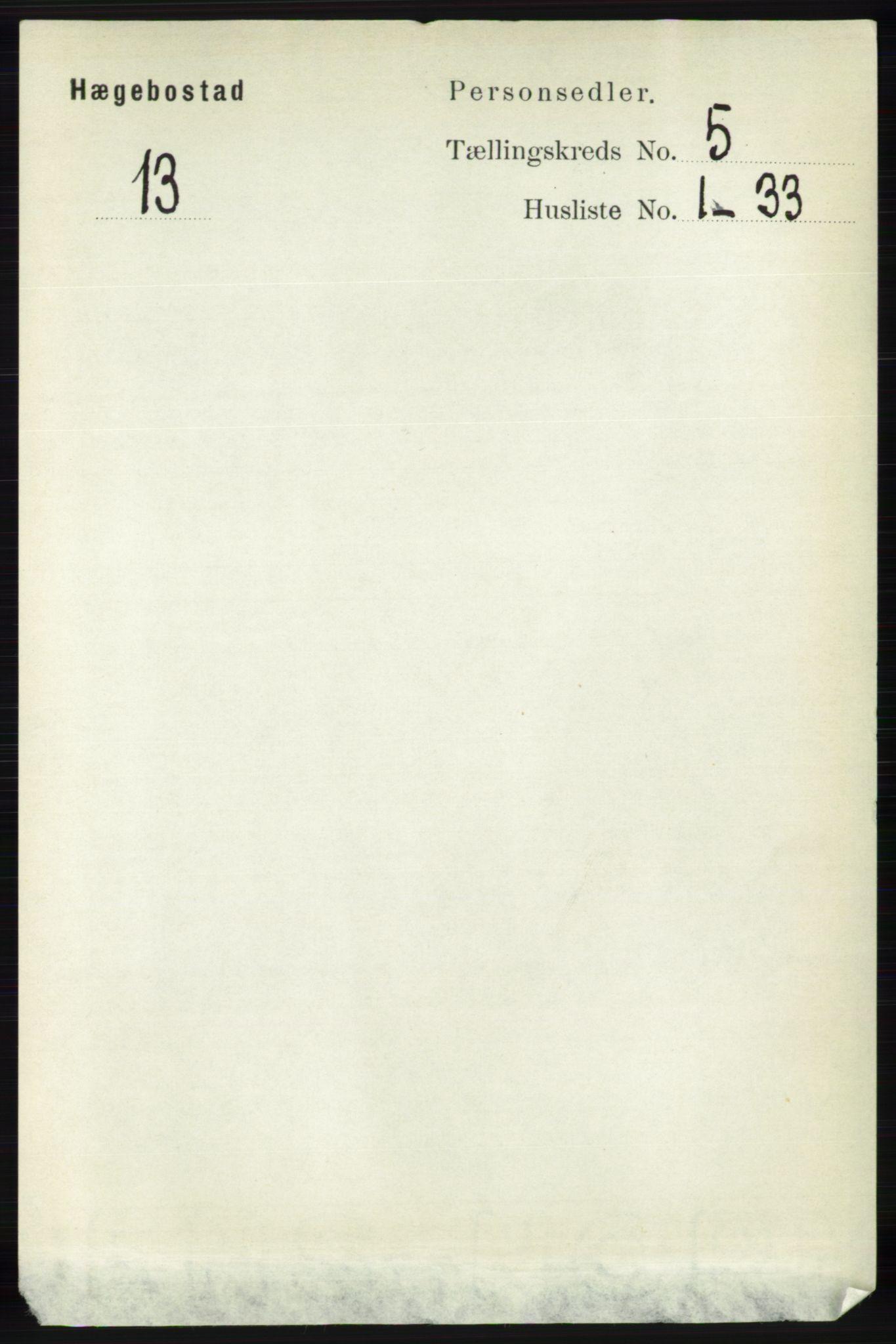 RA, Folketelling 1891 for 1034 Hægebostad herred, 1891, s. 1489