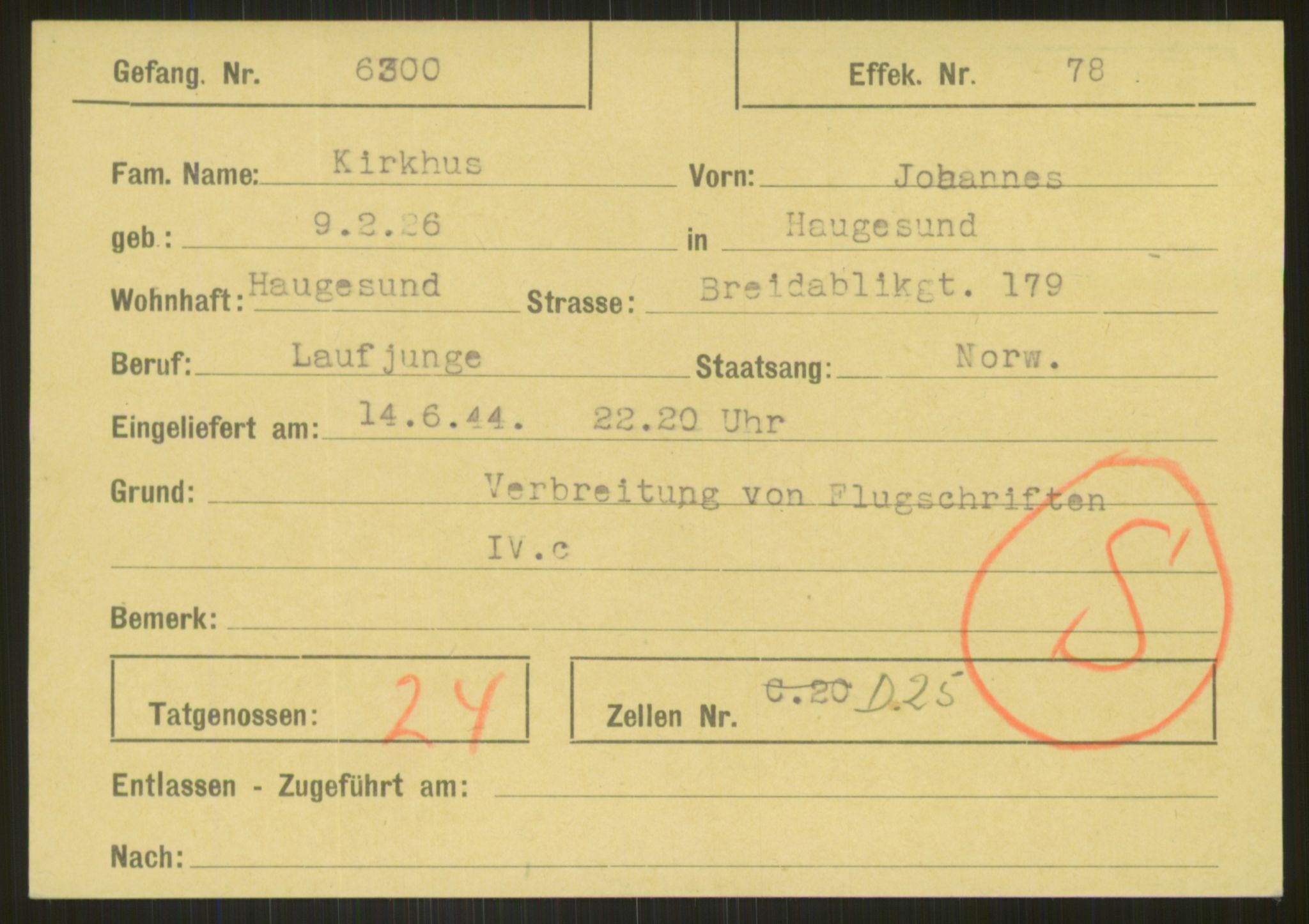 RA, Befehlshaber der Sicherheitspolizei und des SD, E/Ea/Eab/L0007: Register over norske fanger i Møllergata 19 ordnet etter fangenummer: 6300-7129, 1940-1945