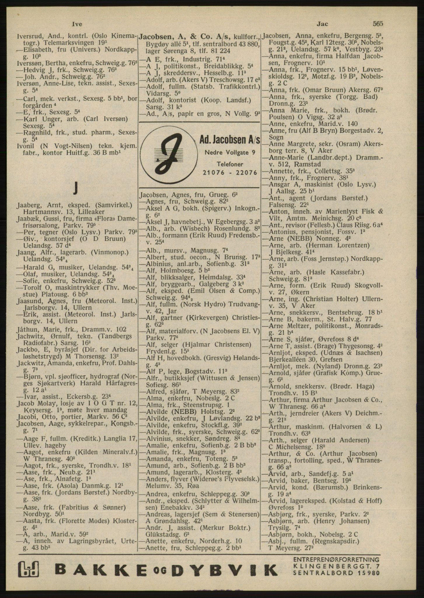 RA, Oslo adressebok (publikasjon)*, 1945, s. 565