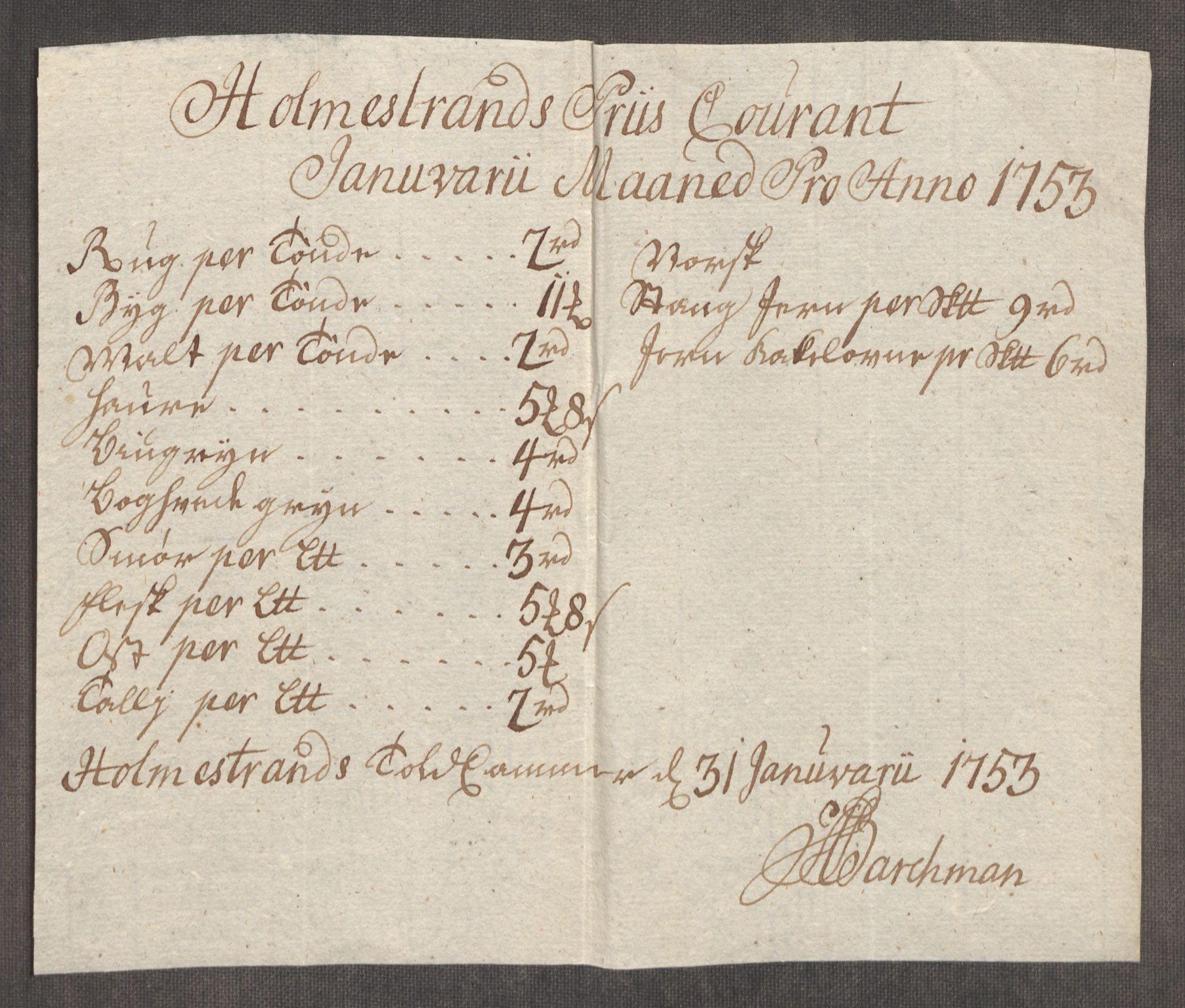 RA, Rentekammeret inntil 1814, Realistisk ordnet avdeling, Oe/L0005: [Ø1]: Priskuranter, 1753-1757, s. 72
