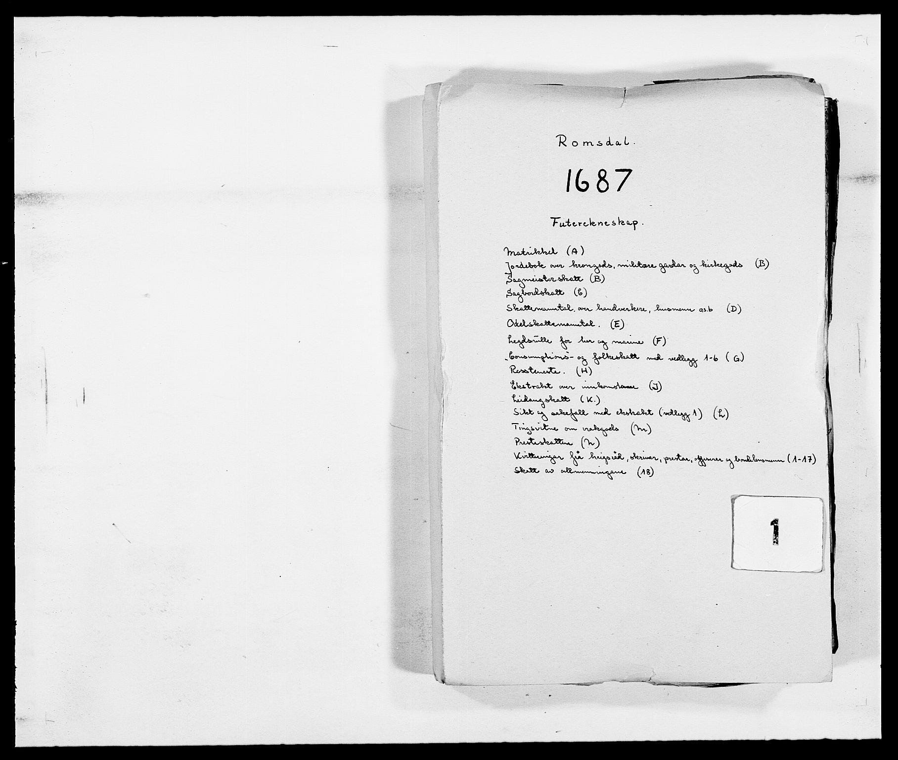 RA, Rentekammeret inntil 1814, Reviderte regnskaper, Fogderegnskap, R55/L3648: Fogderegnskap Romsdal, 1687-1689, s. 1