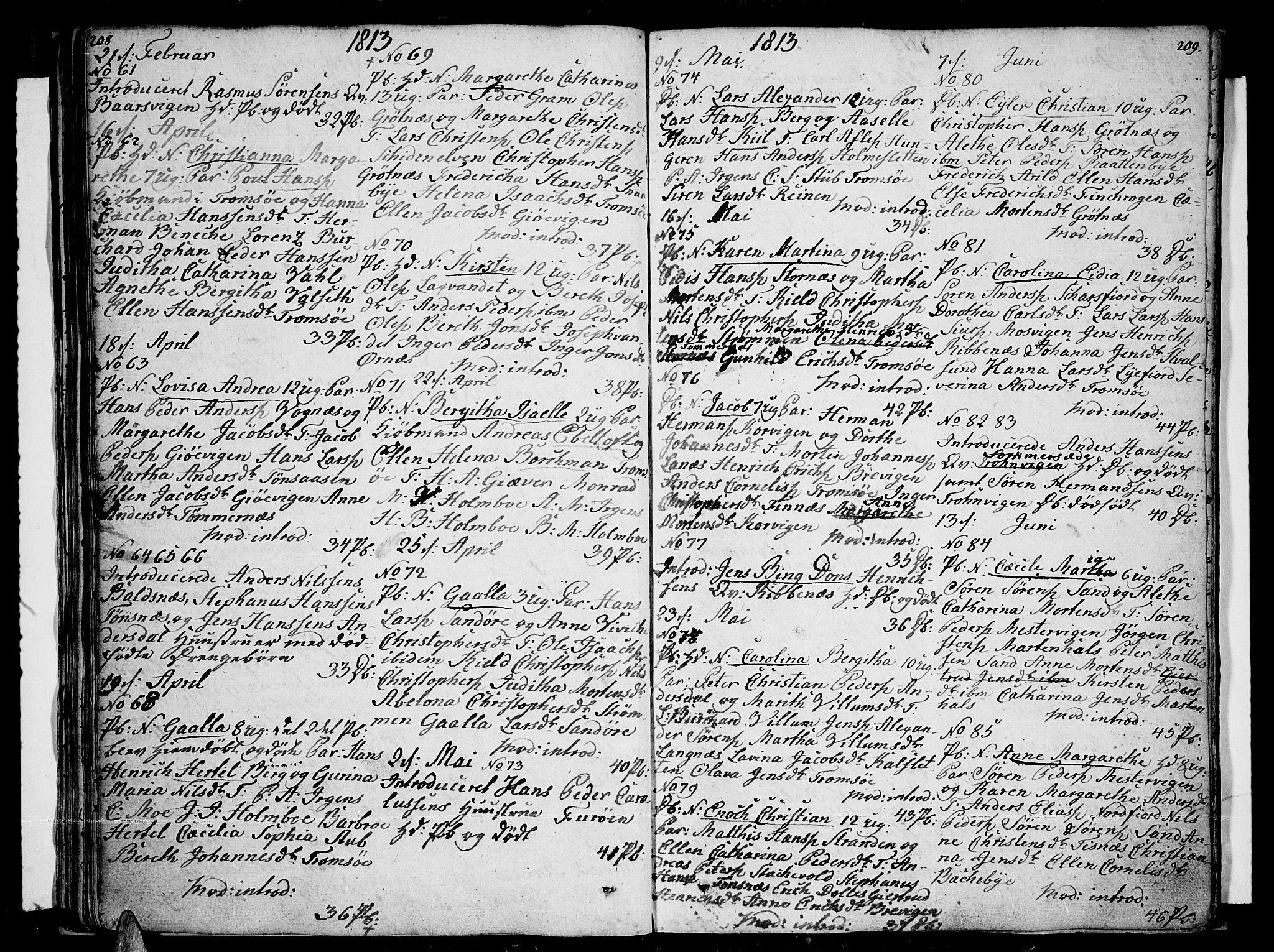 SATØ, Tromsø sokneprestkontor/stiftsprosti/domprosti, G/Ga/L0006kirke: Ministerialbok nr. 6, 1806-1821, s. 208-209