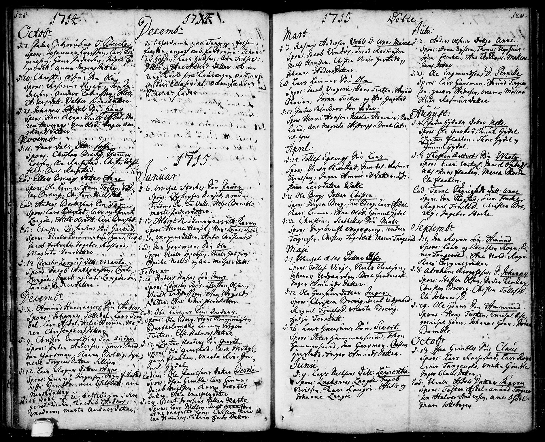 SAKO, Bamble kirkebøker, F/Fa/L0001: Ministerialbok nr. I 1, 1702-1774, s. 126-127