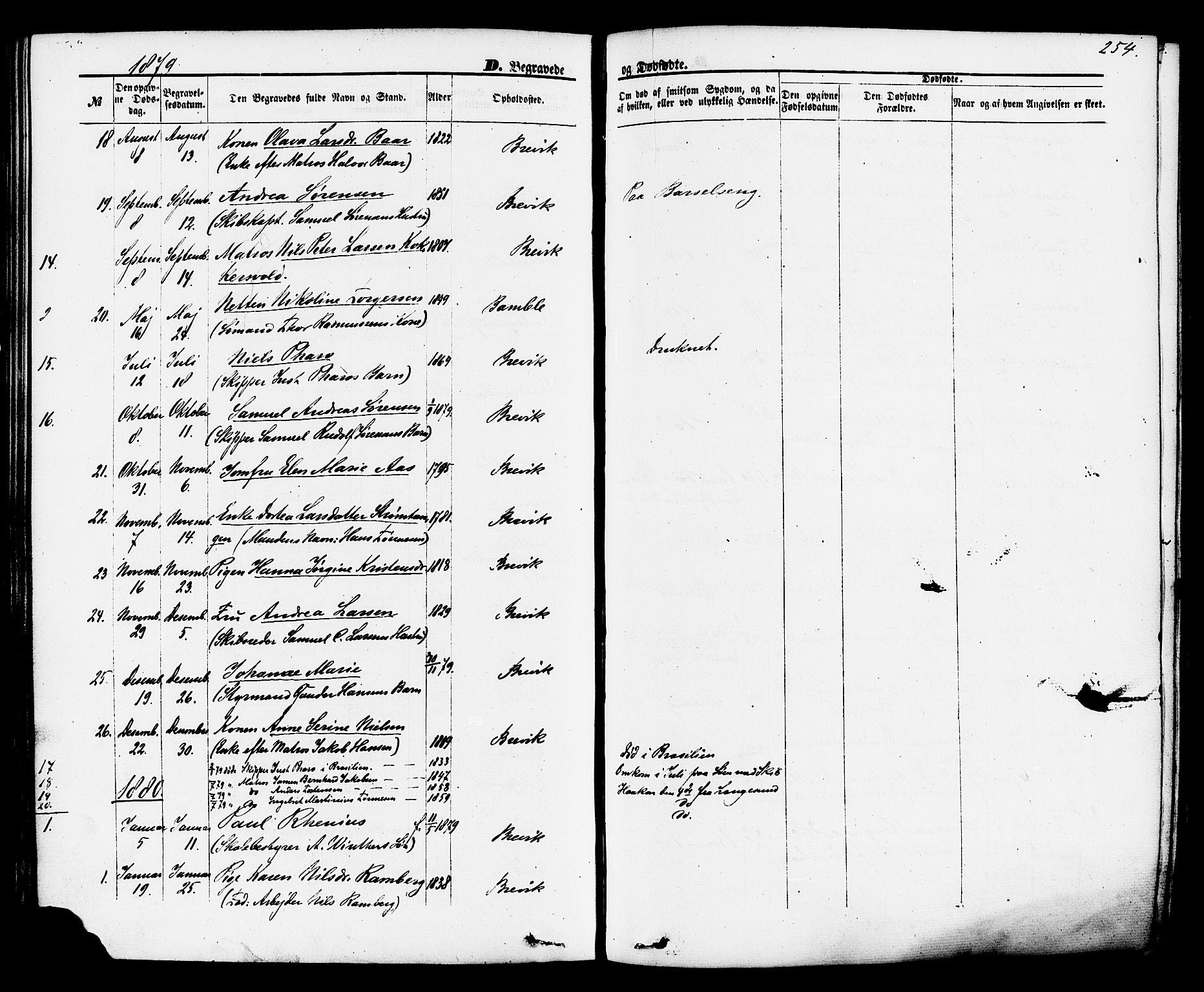 SAKO, Brevik kirkebøker, F/Fa/L0006: Ministerialbok nr. 6, 1866-1881, s. 254