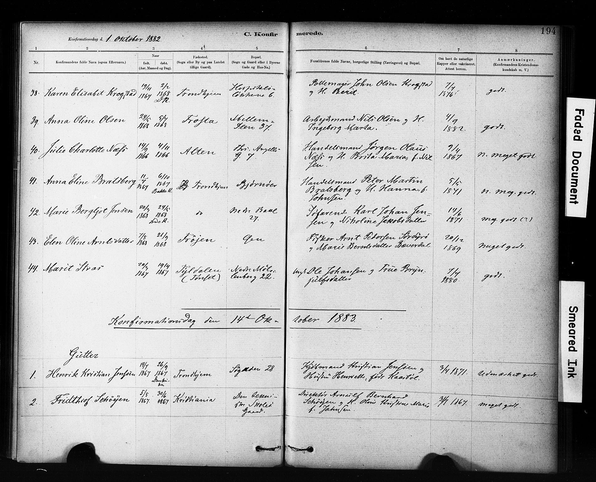 SAT, Ministerialprotokoller, klokkerbøker og fødselsregistre - Sør-Trøndelag, 601/L0071: Residerende kapellans bok nr. 601B04, 1882-1931, s. 194
