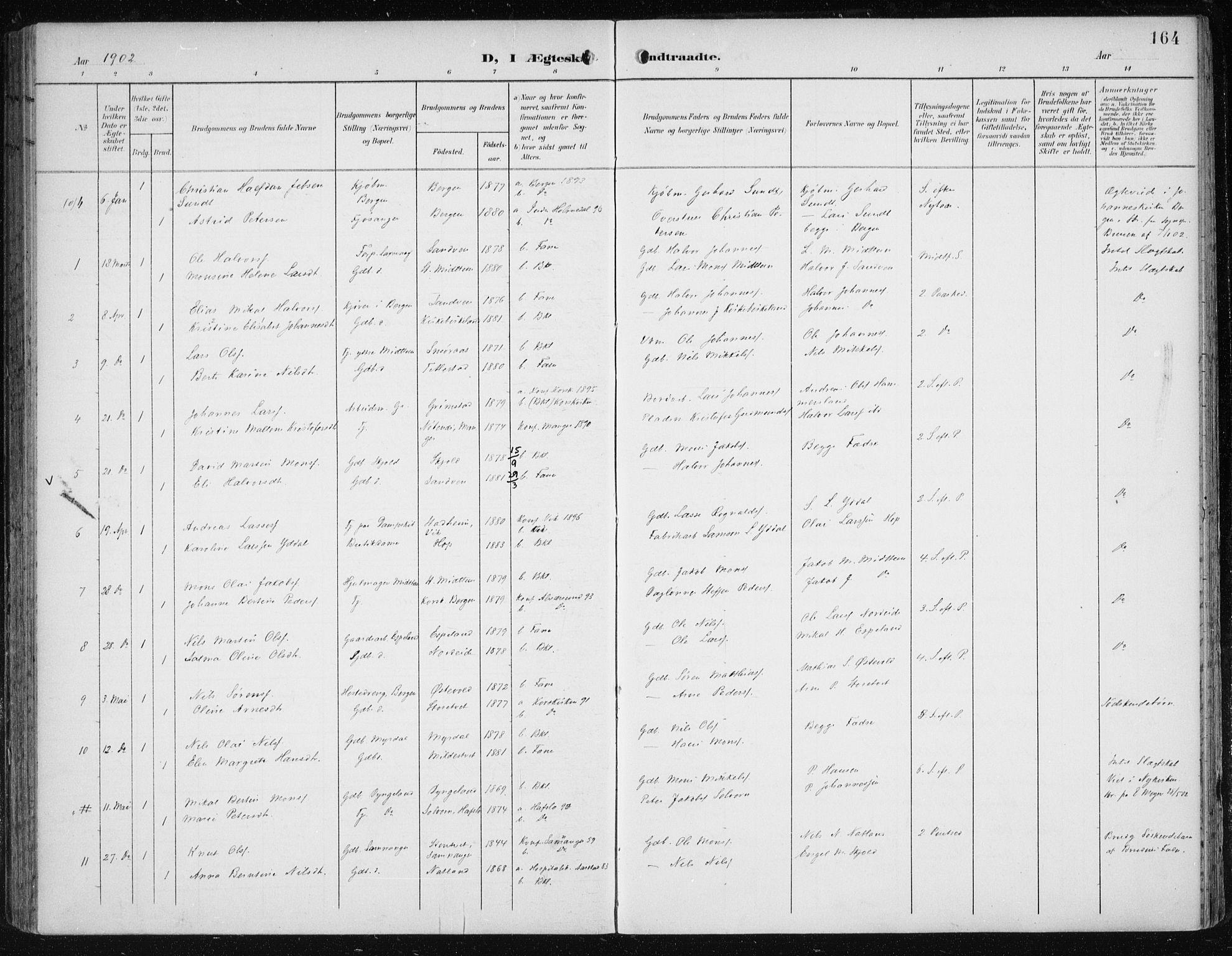 SAB, Fana Sokneprestembete, H/Haa/Haai/L0003: Ministerialbok nr. I 3, 1900-1912, s. 164