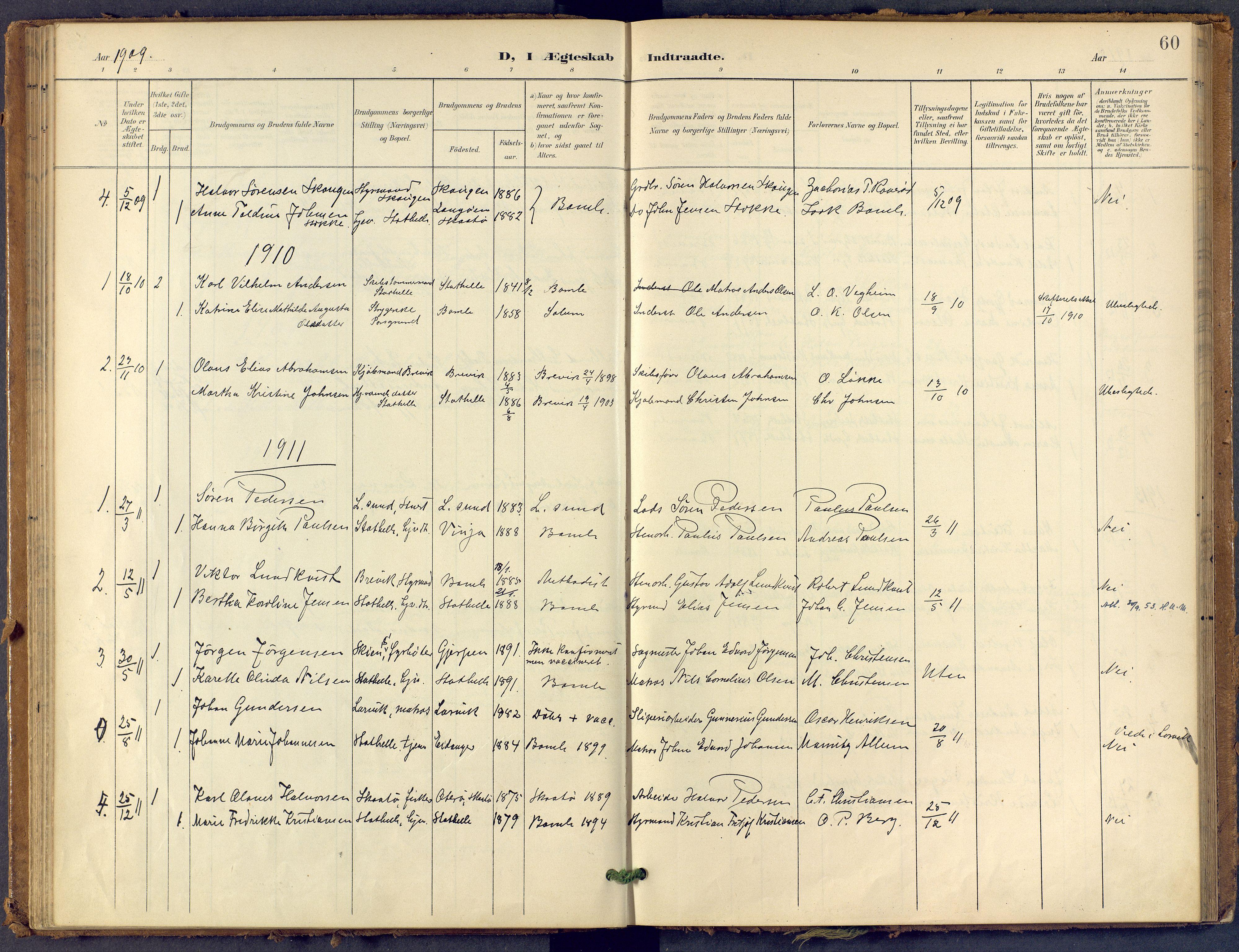 SAKO, Bamble kirkebøker, F/Fb/L0002: Ministerialbok nr. II 2, 1900-1921, s. 60