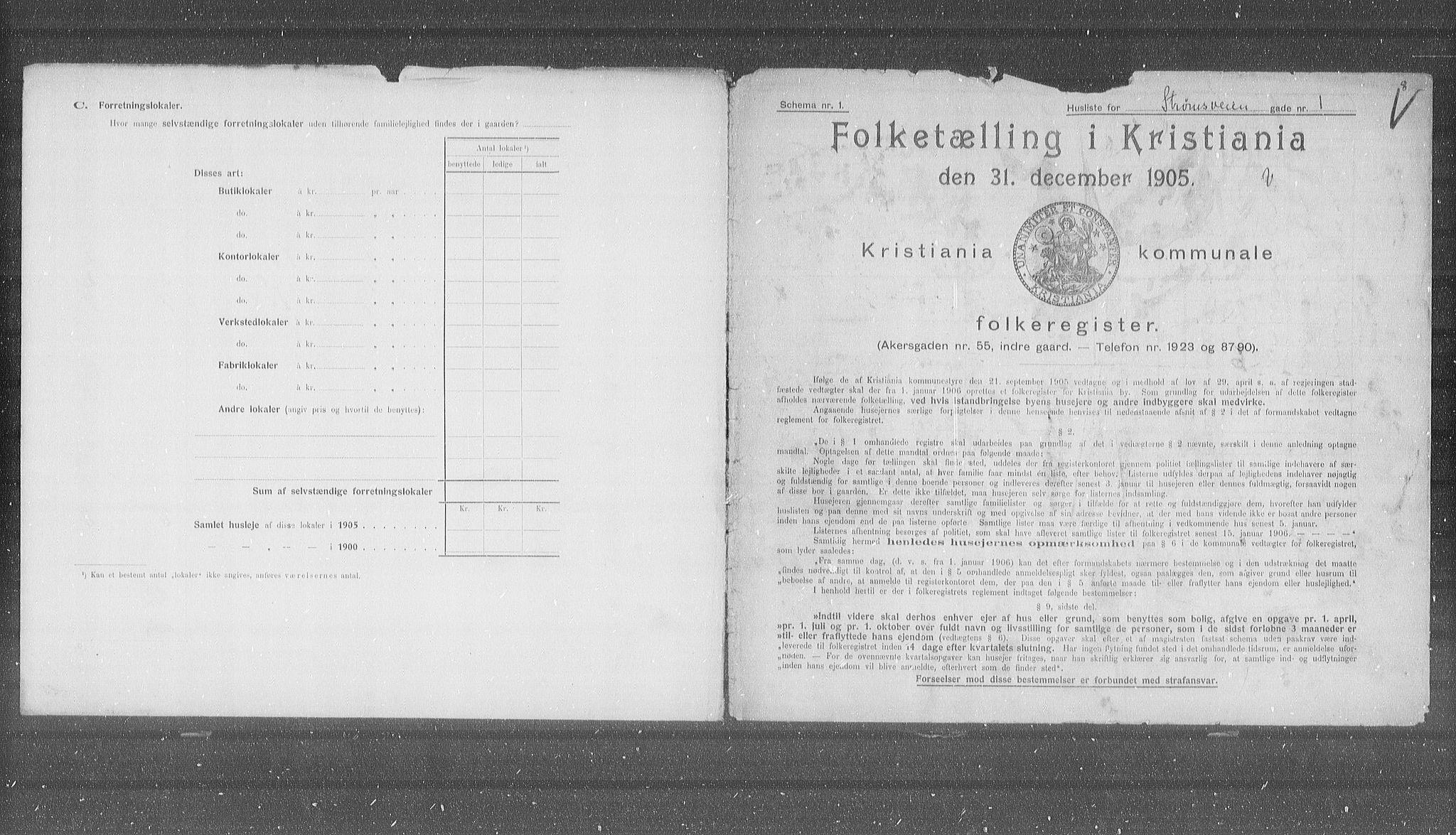 OBA, Kommunal folketelling 1905 for Kristiania kjøpstad, 1905, s. 54384