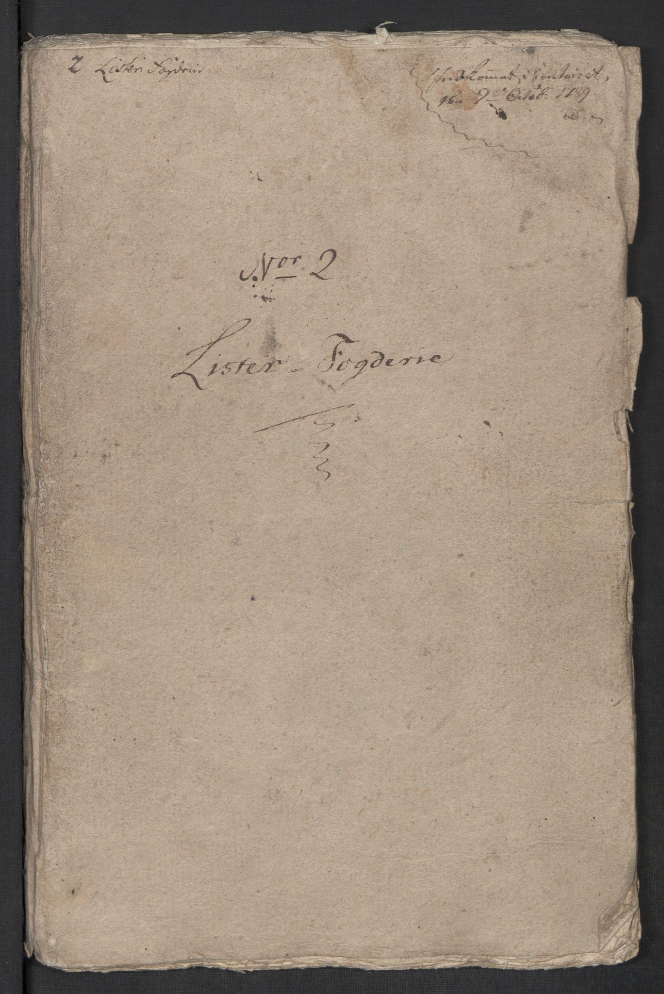 RA, Rentekammeret inntil 1814, Reviderte regnskaper, Mindre regnskaper, Rf/Rfe/L0022: Lista fogderi, Lyse kloster, 1789, s. 3