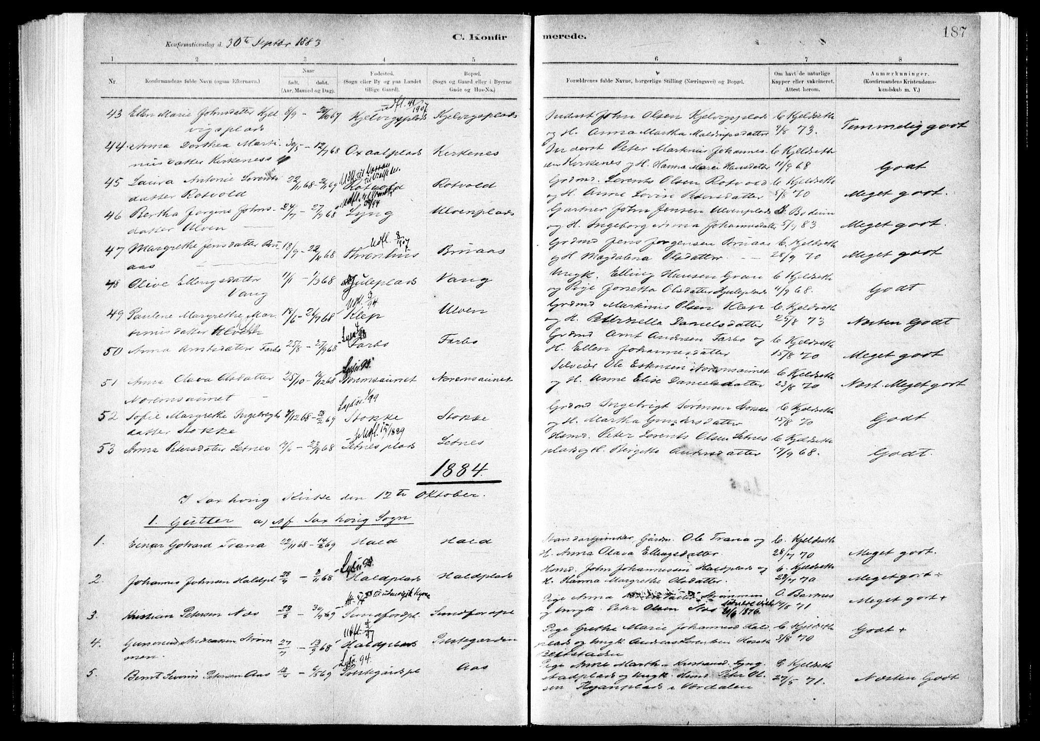 SAT, Ministerialprotokoller, klokkerbøker og fødselsregistre - Nord-Trøndelag, 730/L0285: Ministerialbok nr. 730A10, 1879-1914, s. 187