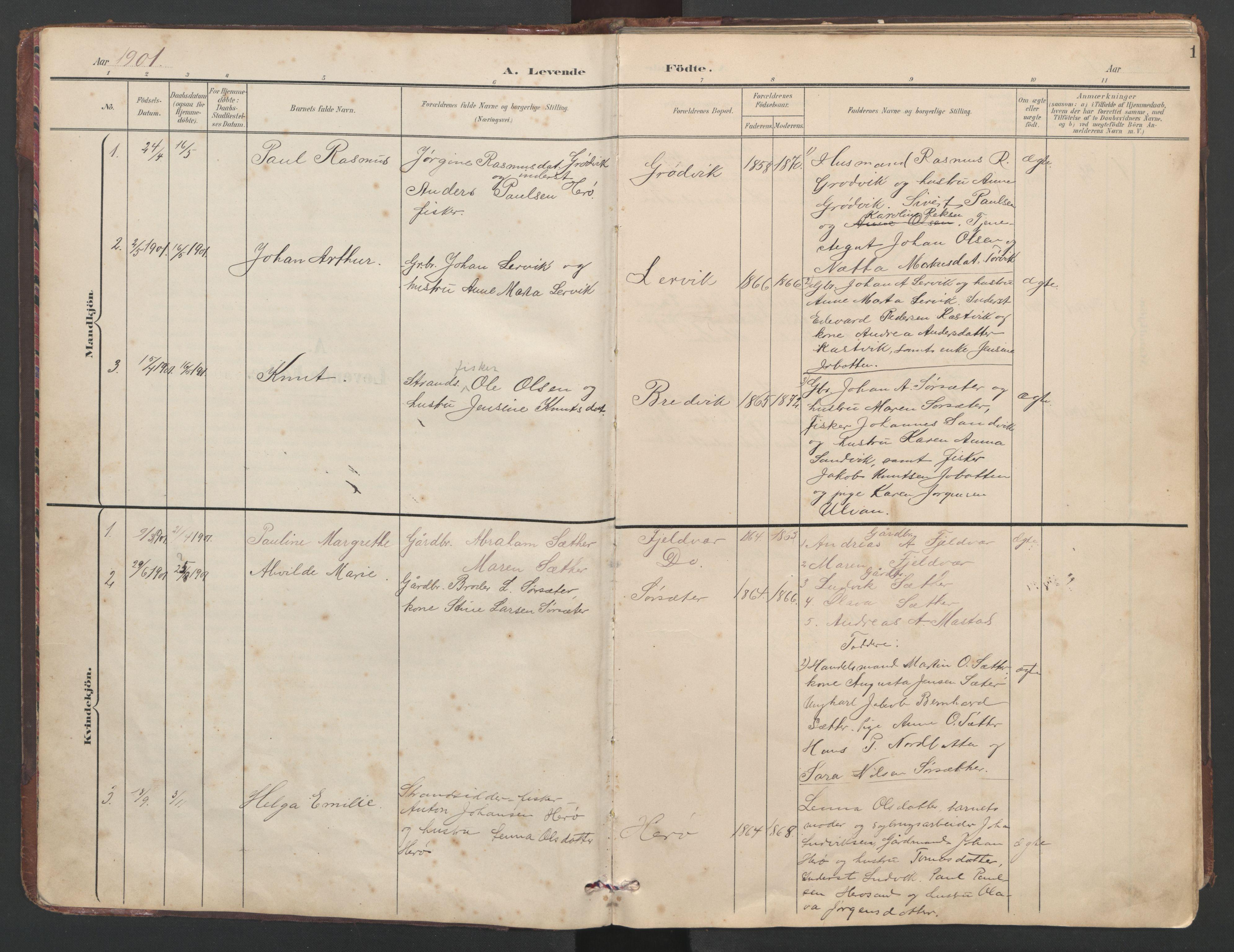 SAT, Ministerialprotokoller, klokkerbøker og fødselsregistre - Sør-Trøndelag, 638/L0571: Klokkerbok nr. 638C03, 1901-1930, s. 1