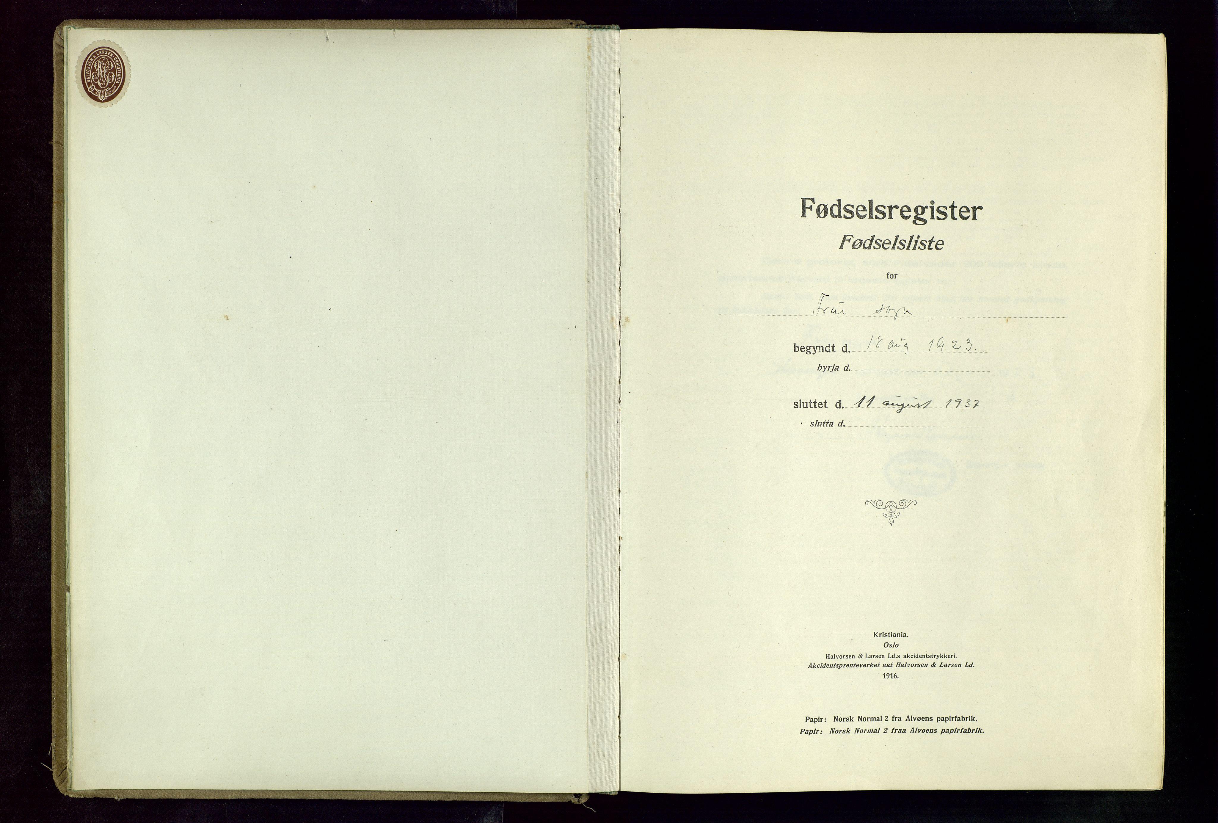 SAST, Hetland sokneprestkontor, 70/704BA/L0004: Fødselsregister nr. 4, 1923-1937