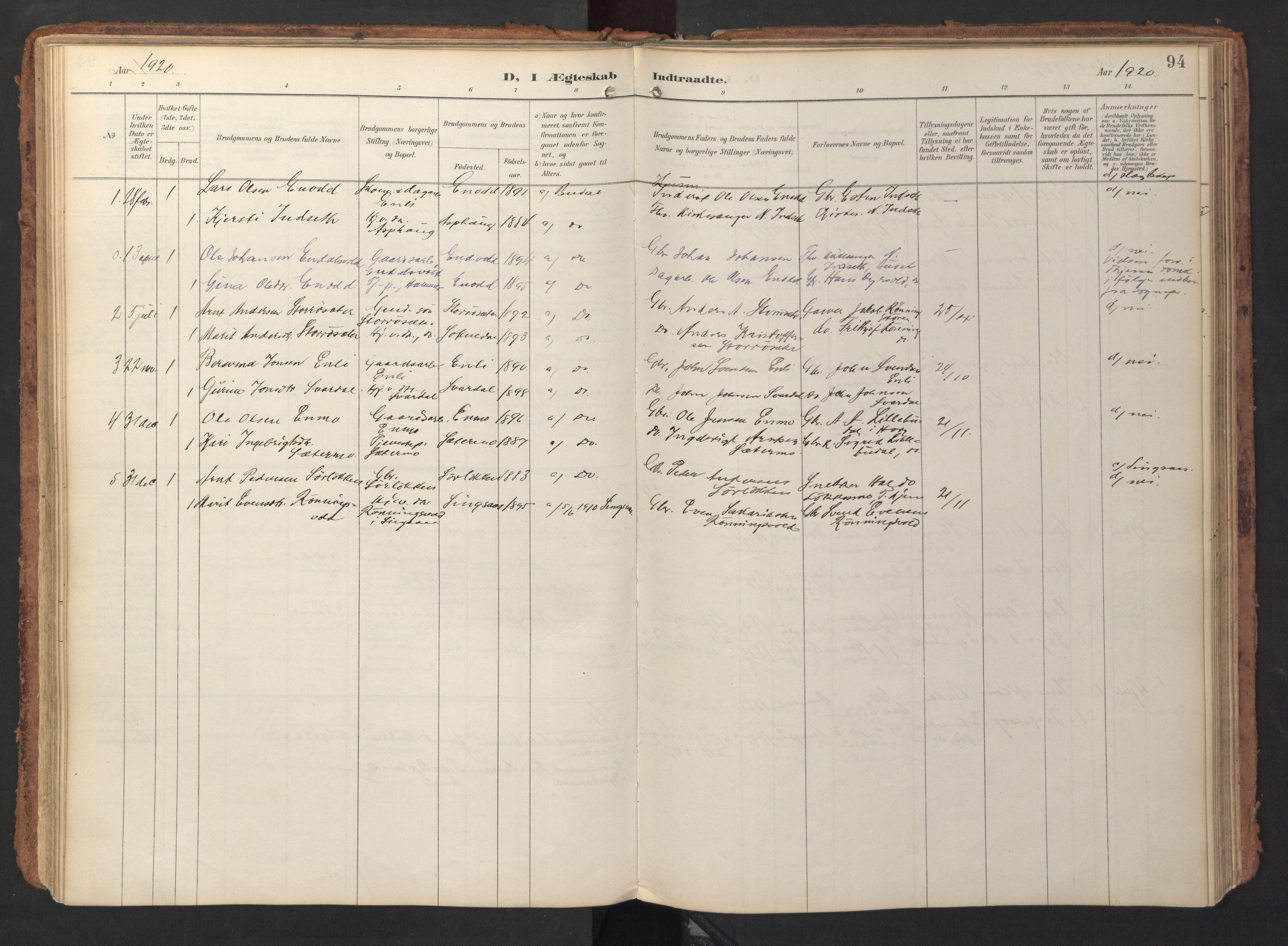 SAT, Ministerialprotokoller, klokkerbøker og fødselsregistre - Sør-Trøndelag, 690/L1050: Ministerialbok nr. 690A01, 1889-1929, s. 94
