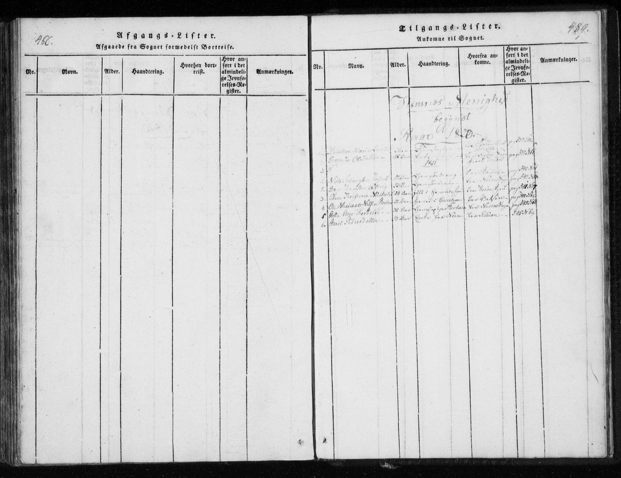 SAT, Ministerialprotokoller, klokkerbøker og fødselsregistre - Nordland, 825/L0353: Ministerialbok nr. 825A07, 1820-1826, s. 488-489