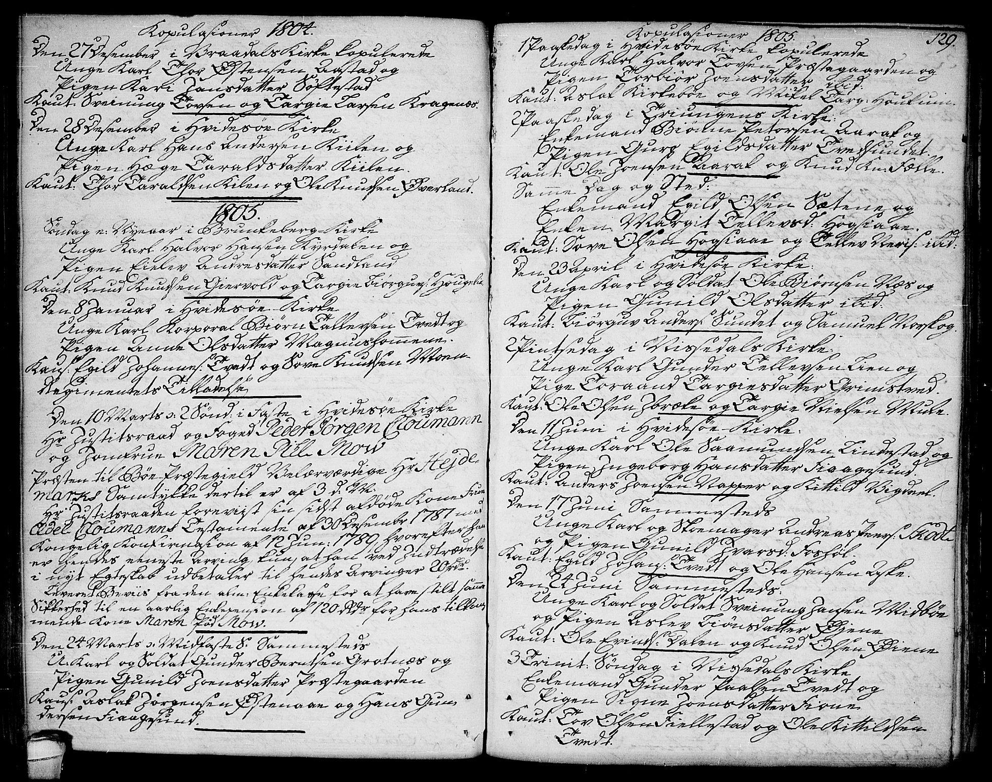 SAKO, Kviteseid kirkebøker, F/Fa/L0004: Ministerialbok nr. I 4, 1800-1814, s. 129
