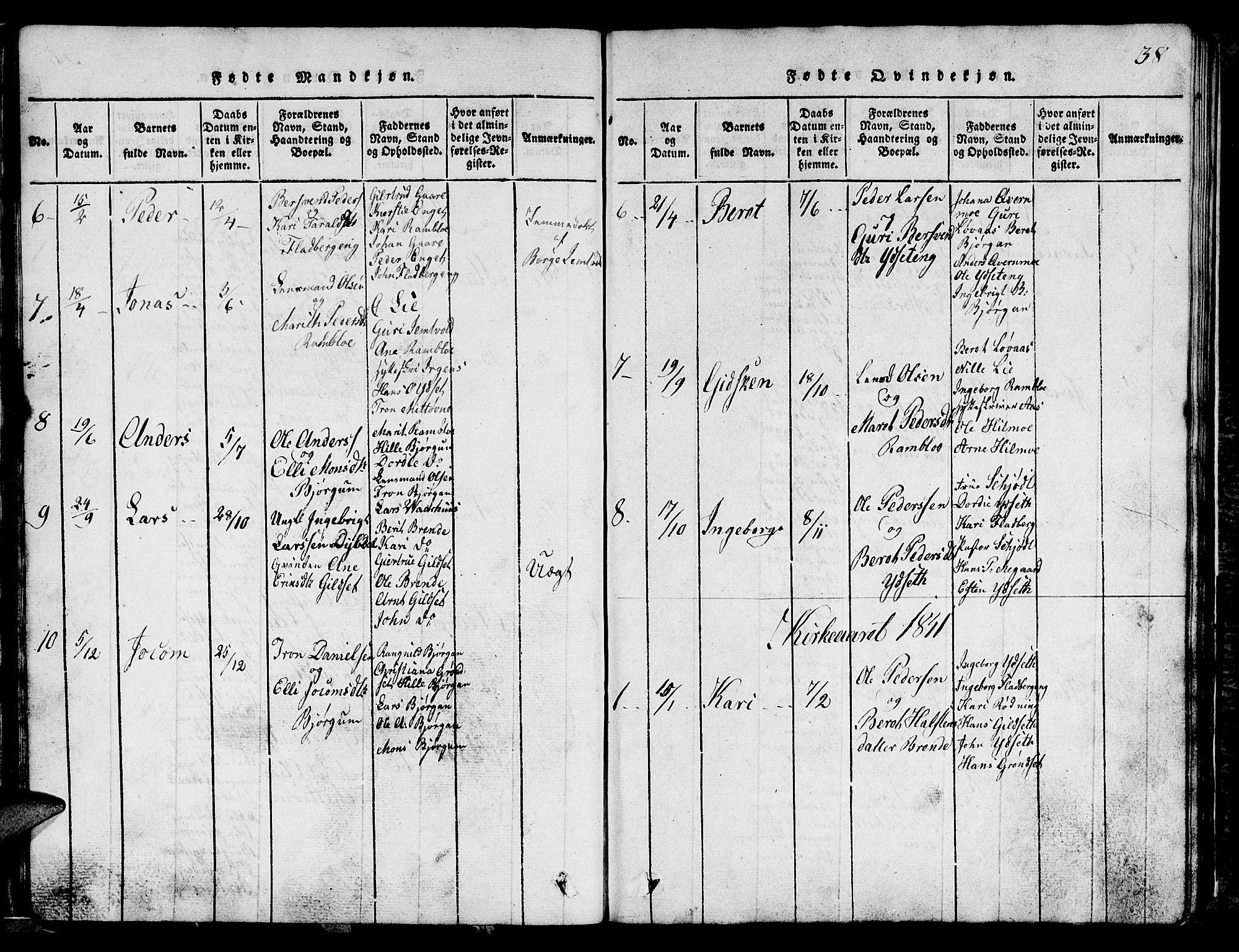 SAT, Ministerialprotokoller, klokkerbøker og fødselsregistre - Sør-Trøndelag, 685/L0976: Klokkerbok nr. 685C01, 1817-1878, s. 38