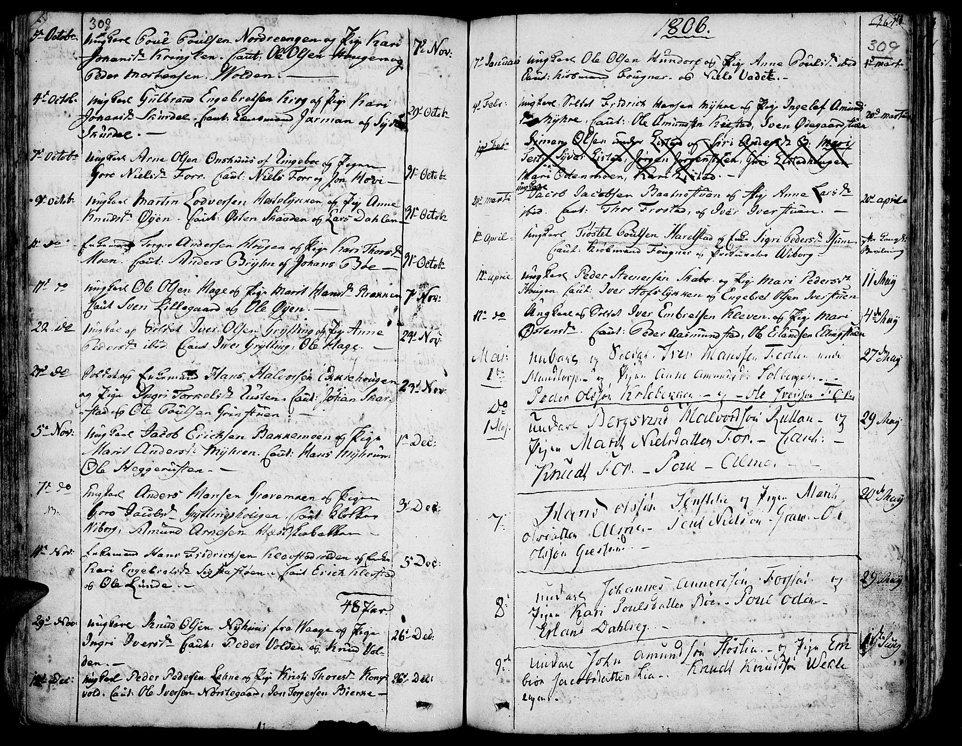 SAH, Fron prestekontor, H/Ha/Haa/L0001: Ministerialbok nr. 1, 1799-1816, s. 308-309