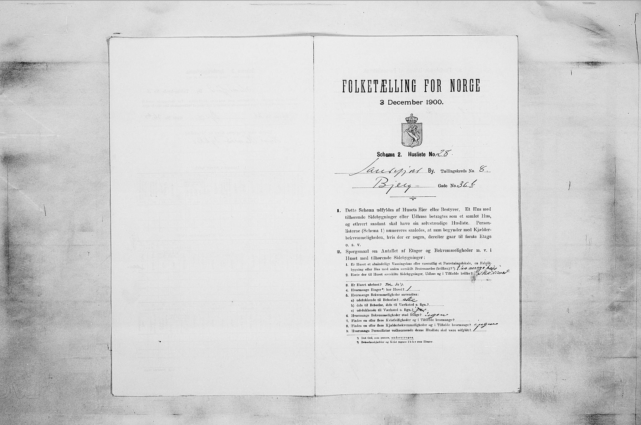 RA, Folketelling 1900 for 0706 Sandefjord kjøpstad, 1900, s. 2076