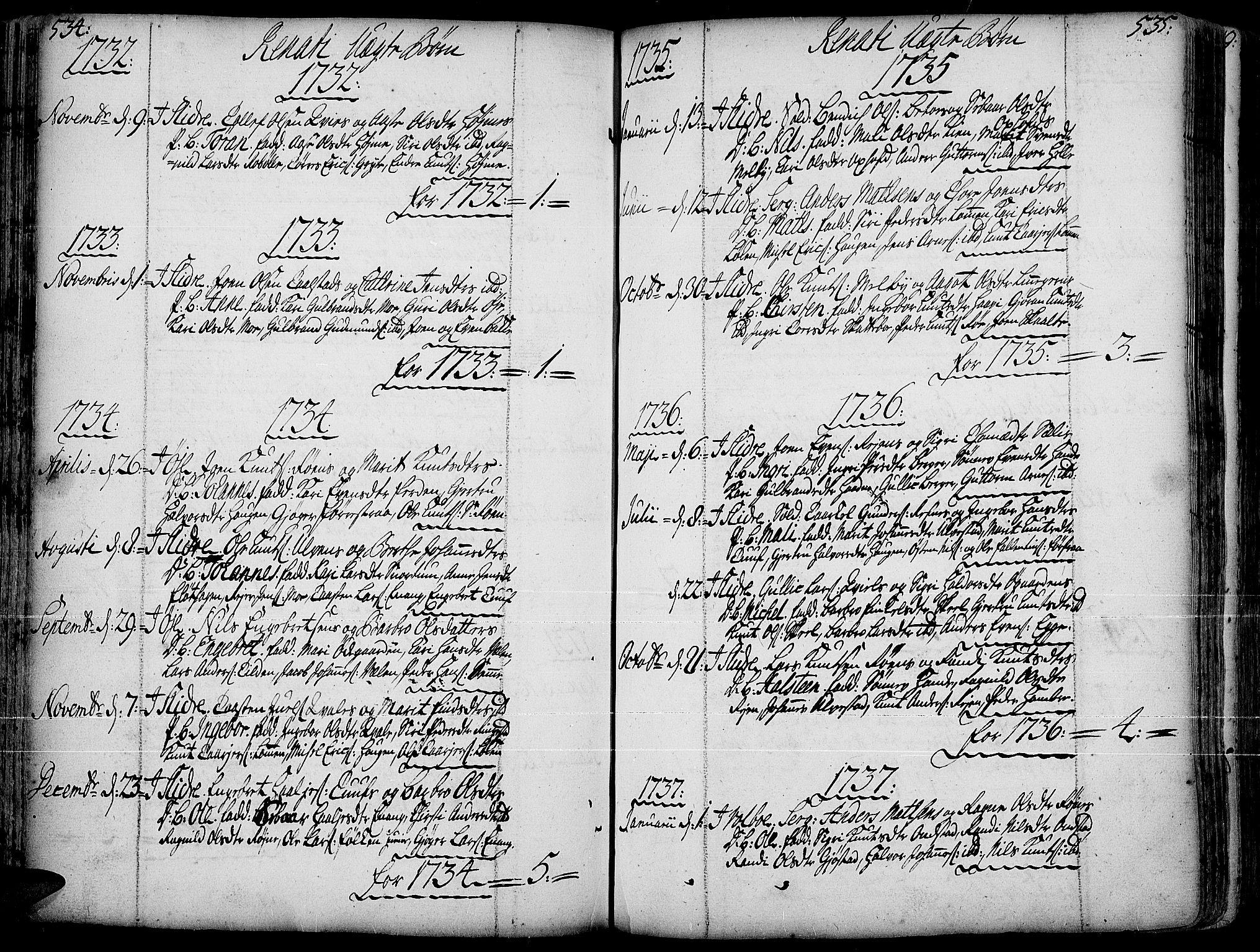SAH, Slidre prestekontor, Ministerialbok nr. 1, 1724-1814, s. 534-535