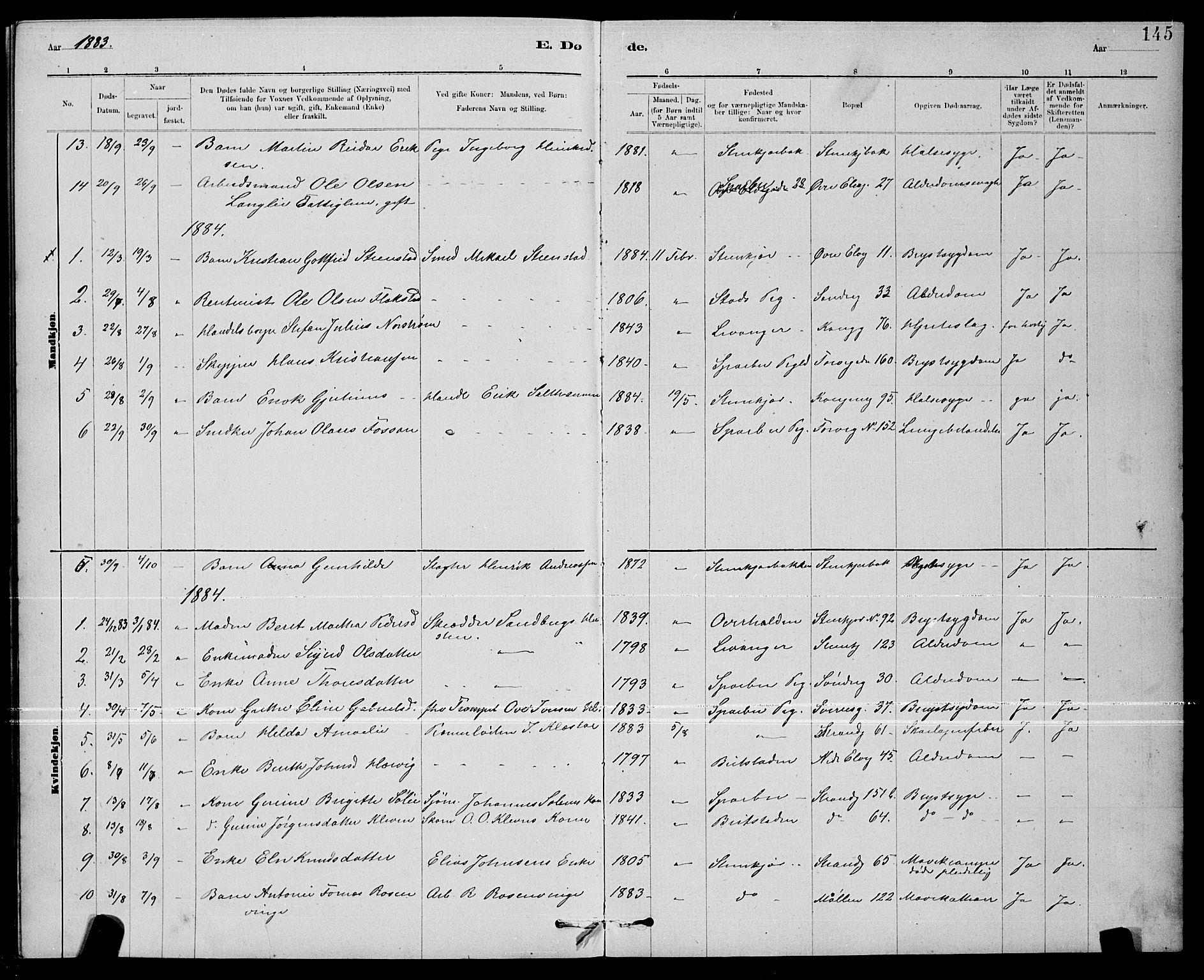 SAT, Ministerialprotokoller, klokkerbøker og fødselsregistre - Nord-Trøndelag, 739/L0374: Klokkerbok nr. 739C02, 1883-1898, s. 145