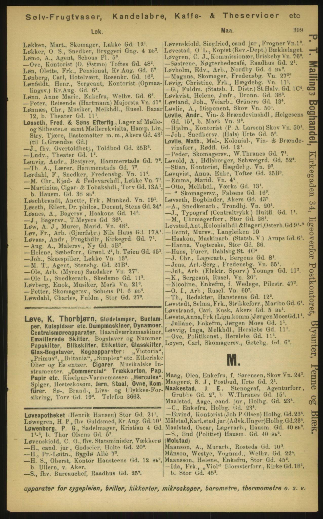 PUBL, Kristiania/Oslo adressebok, 1897, s. 399