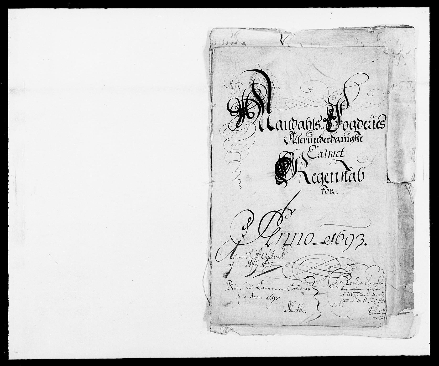RA, Rentekammeret inntil 1814, Reviderte regnskaper, Fogderegnskap, R42/L2544: Mandal fogderi, 1692-1693, s. 184