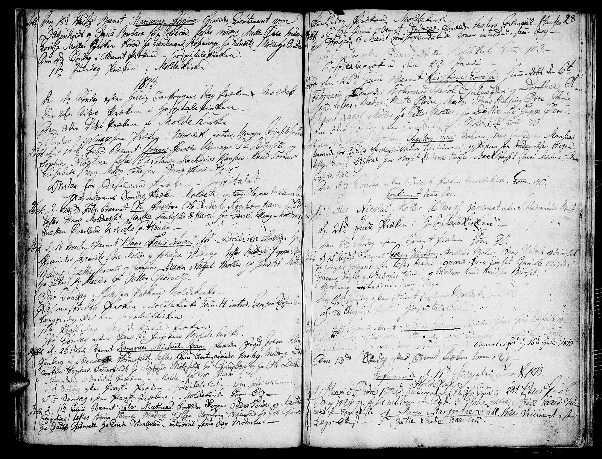 SAT, Ministerialprotokoller, klokkerbøker og fødselsregistre - Møre og Romsdal, 558/L0687: Ministerialbok nr. 558A01, 1798-1818, s. 28
