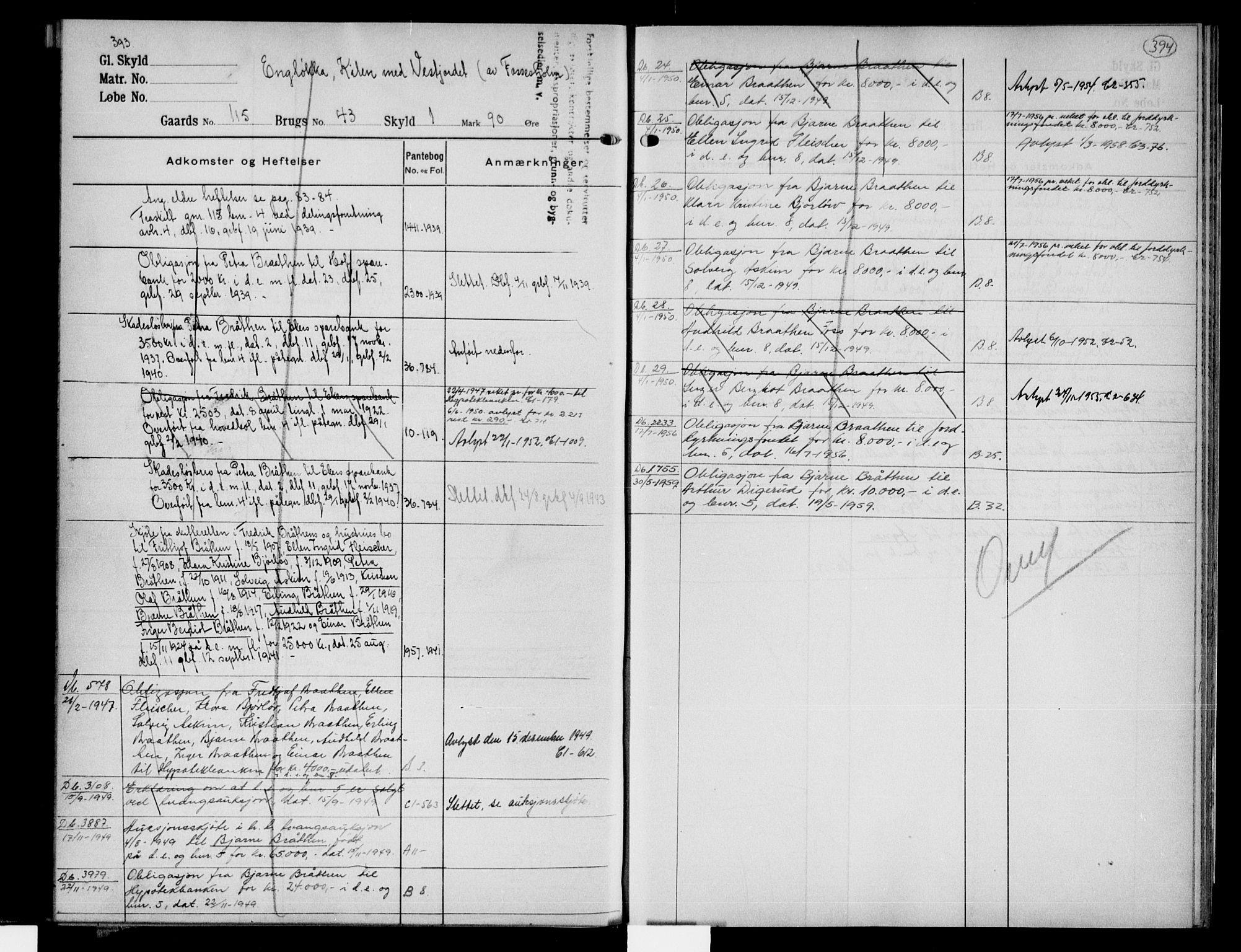 SAKO, Eiker, Modum og Sigdal sorenskriveri, G/Gb/Gbe/L0008: Panteregister nr. V 8, s. 393-394
