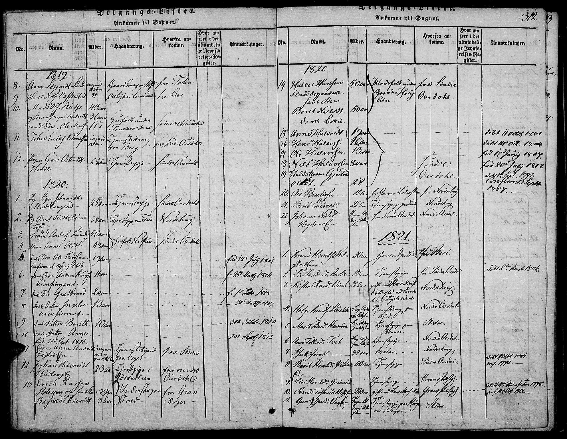 SAH, Land prestekontor, Ministerialbok nr. 7, 1814-1830, s. 312