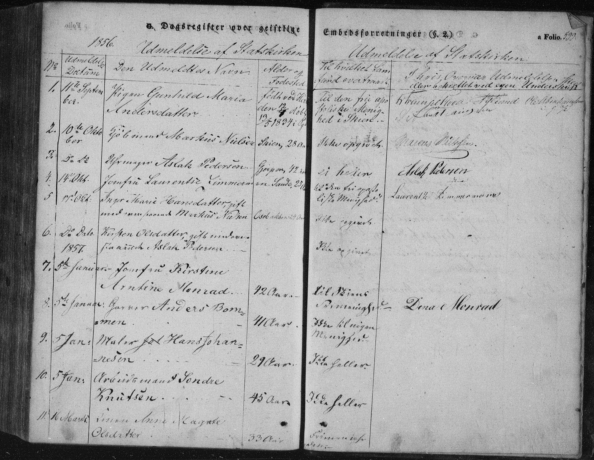 SAKO, Porsgrunn kirkebøker , F/Fa/L0006: Ministerialbok nr. 6, 1841-1857, s. 599