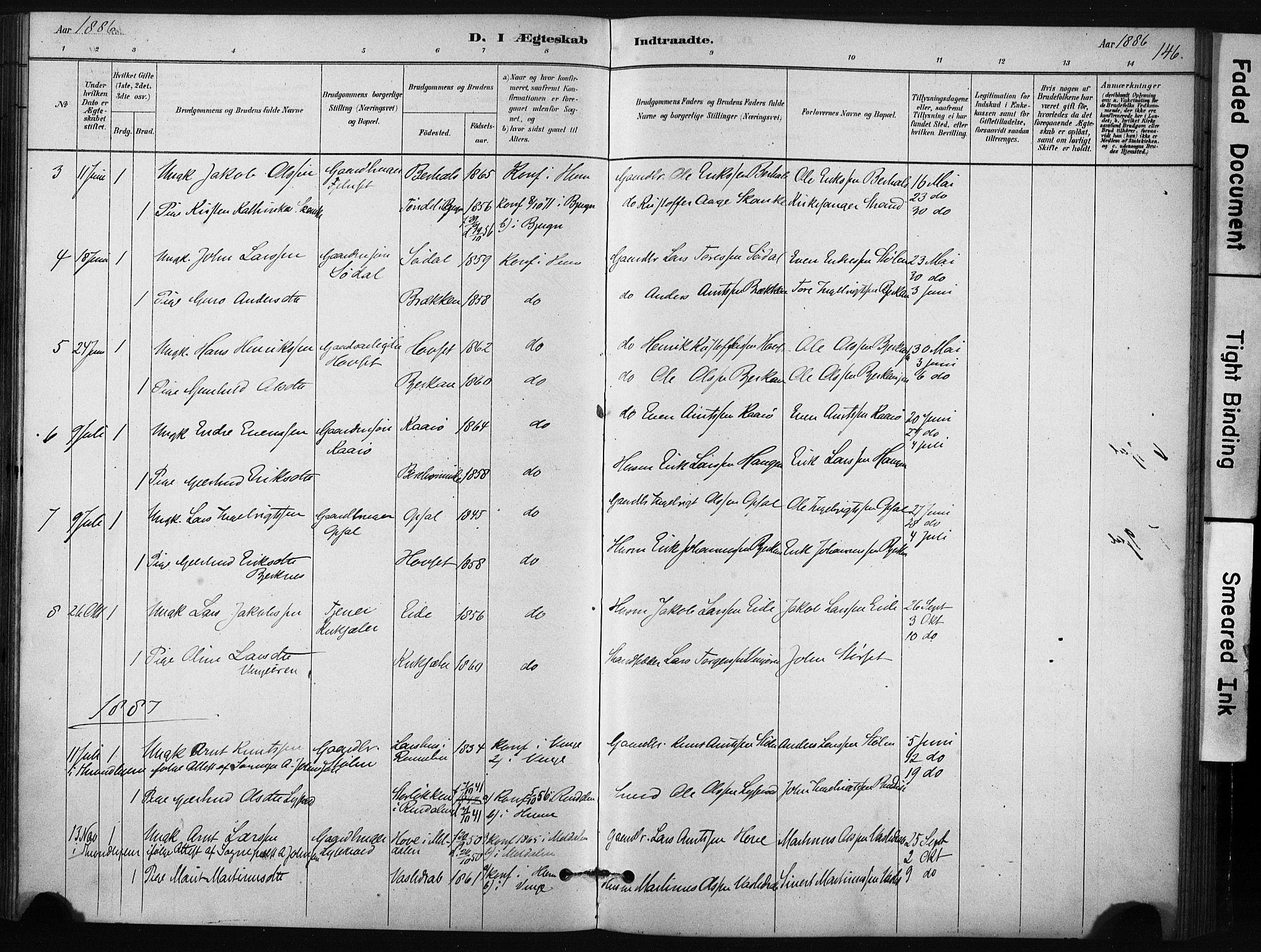 SAT, Ministerialprotokoller, klokkerbøker og fødselsregistre - Sør-Trøndelag, 631/L0512: Ministerialbok nr. 631A01, 1879-1912, s. 146
