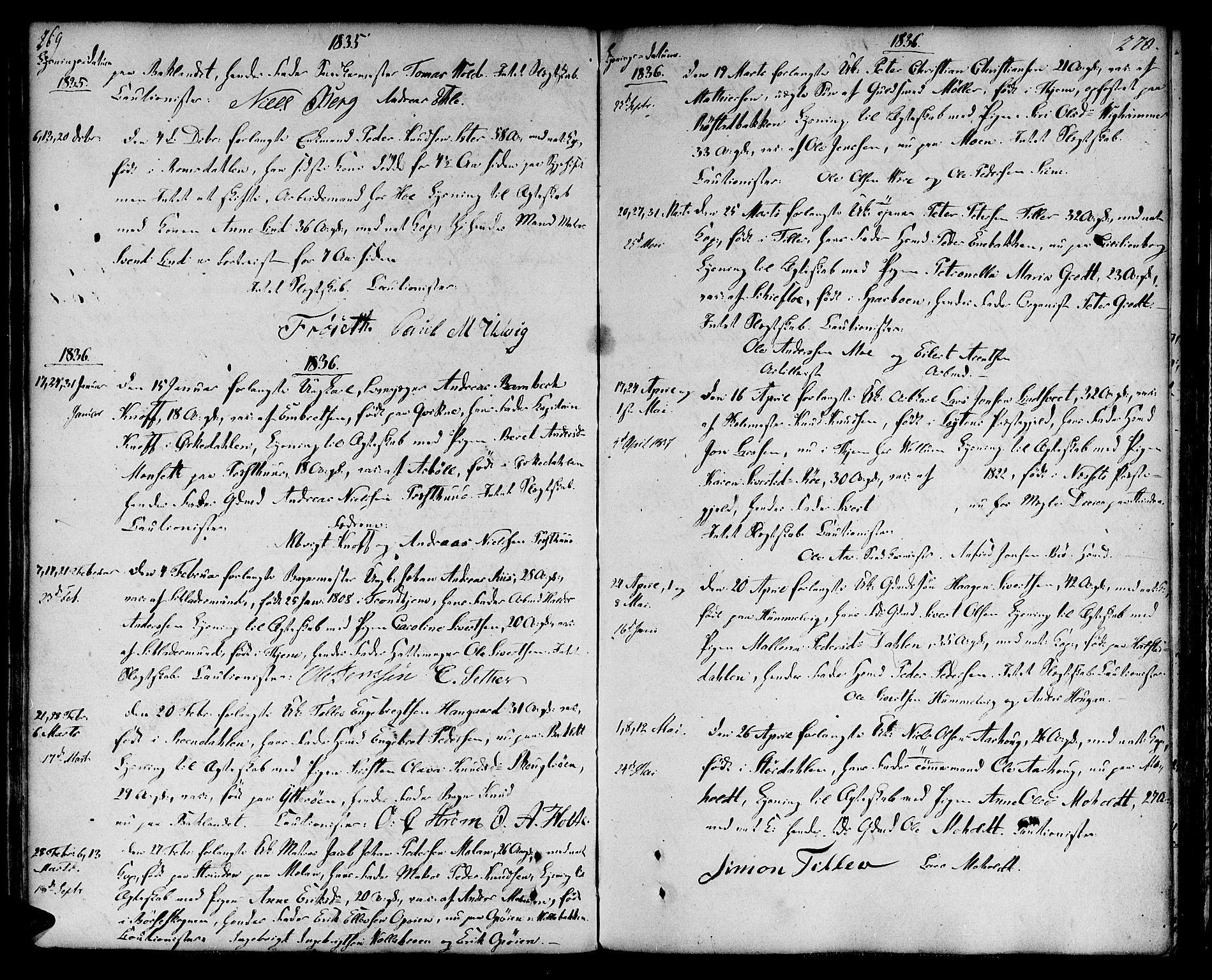 SAT, Ministerialprotokoller, klokkerbøker og fødselsregistre - Sør-Trøndelag, 604/L0181: Ministerialbok nr. 604A02, 1798-1817, s. 269-270