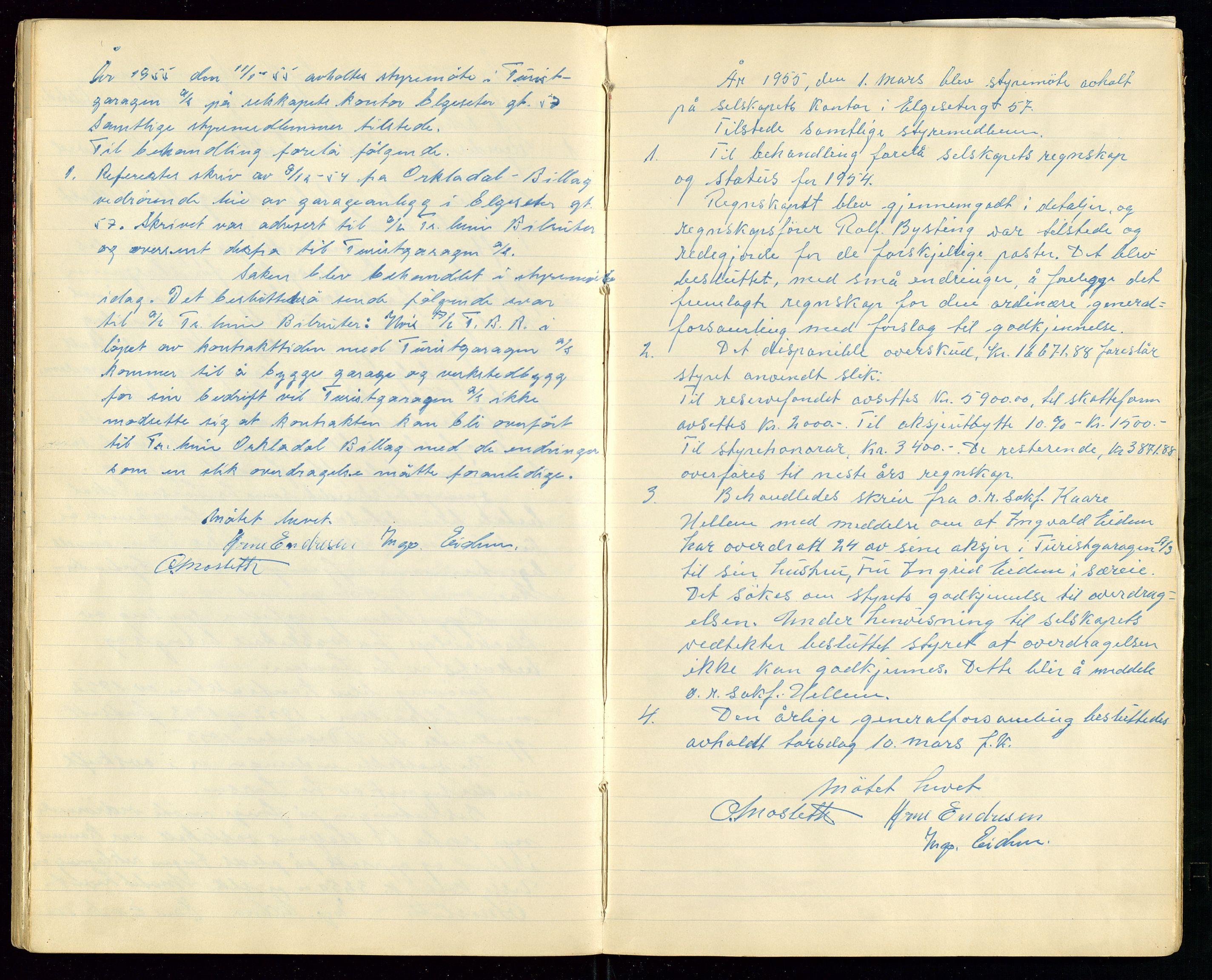 SAST, PA 1515 - Turistgarasjen A/S, A/L0001: Forhandlingsprotokoll, 1937-1958, s. 36