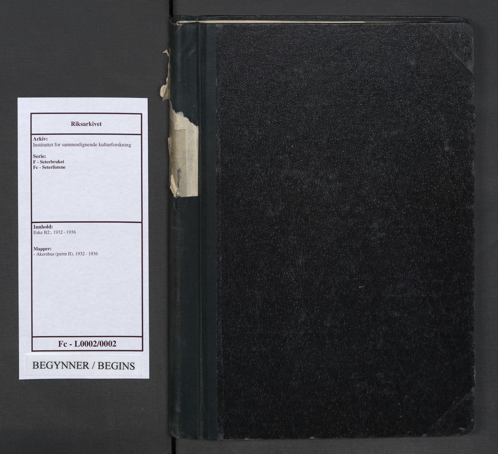 RA, Instituttet for sammenlignende kulturforskning, F/Fc/L0002: Eske B2:, 1932-1936, s. upaginert